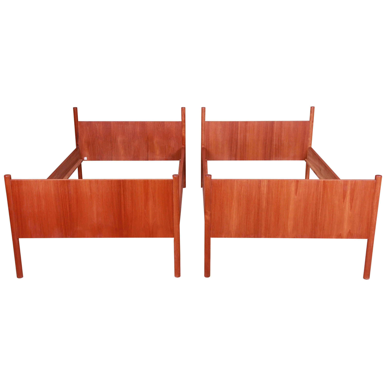 Westnofa Midcentury Scandinavian Modern Teak Twin Bed Frames, Pair