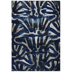 Blue and White Handmade Wool and Silk Rug from Aldabra Collection by Gordian