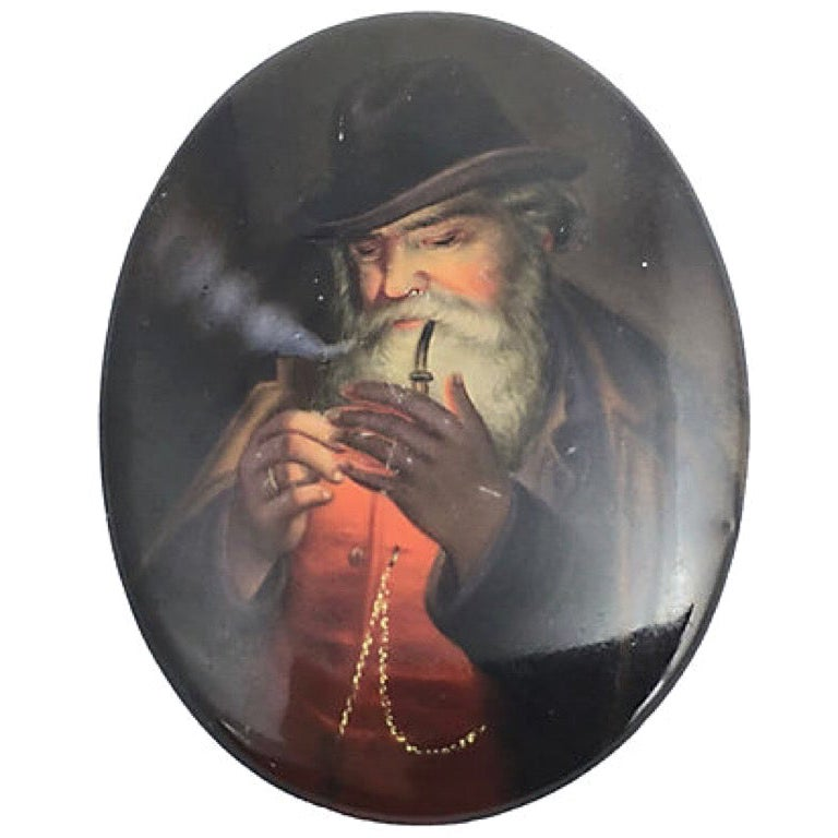 19th Century The Smoker Portrait on Porcelain by B. Geyer