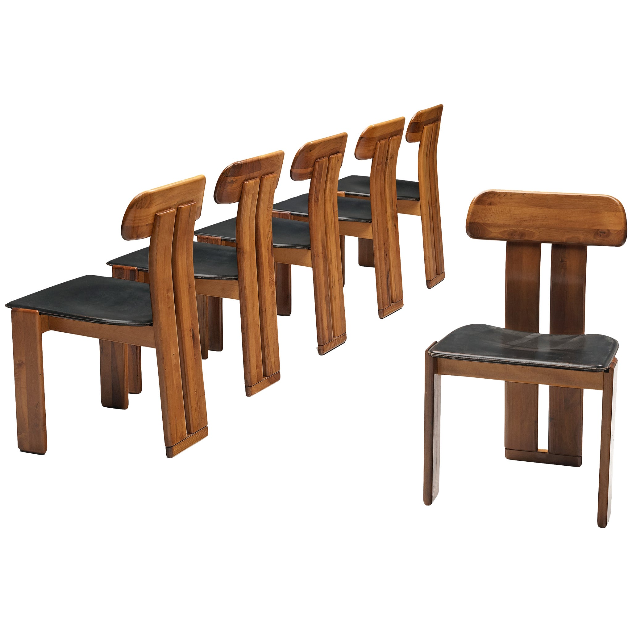 Set of Six Italian Dining Chairs by Sapporo in Black Leather and Walnut