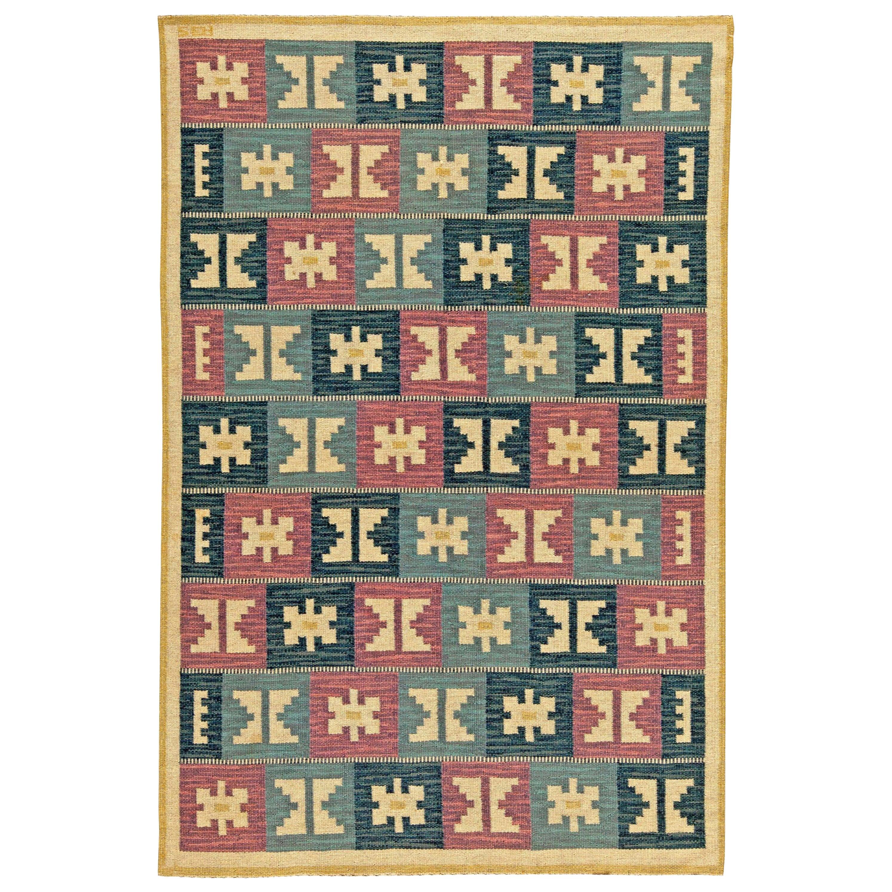 Midcentury Swedish Geometric Flat-Woven Wool by Anna-Greta Sjöqvist