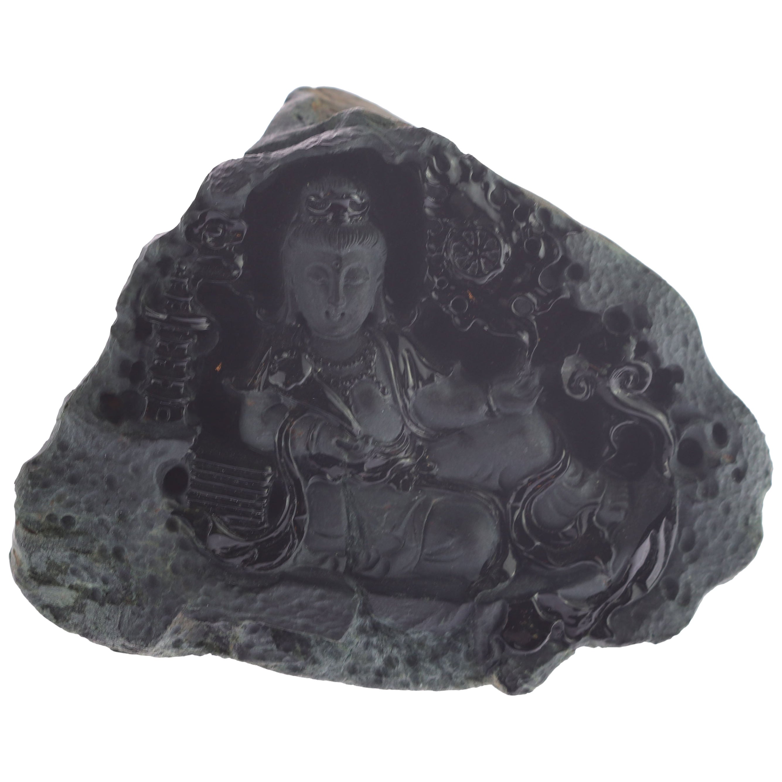 Black Jade Guanyin Bodhisattva Female Buddha Asian Art Carved Statue Sculpture