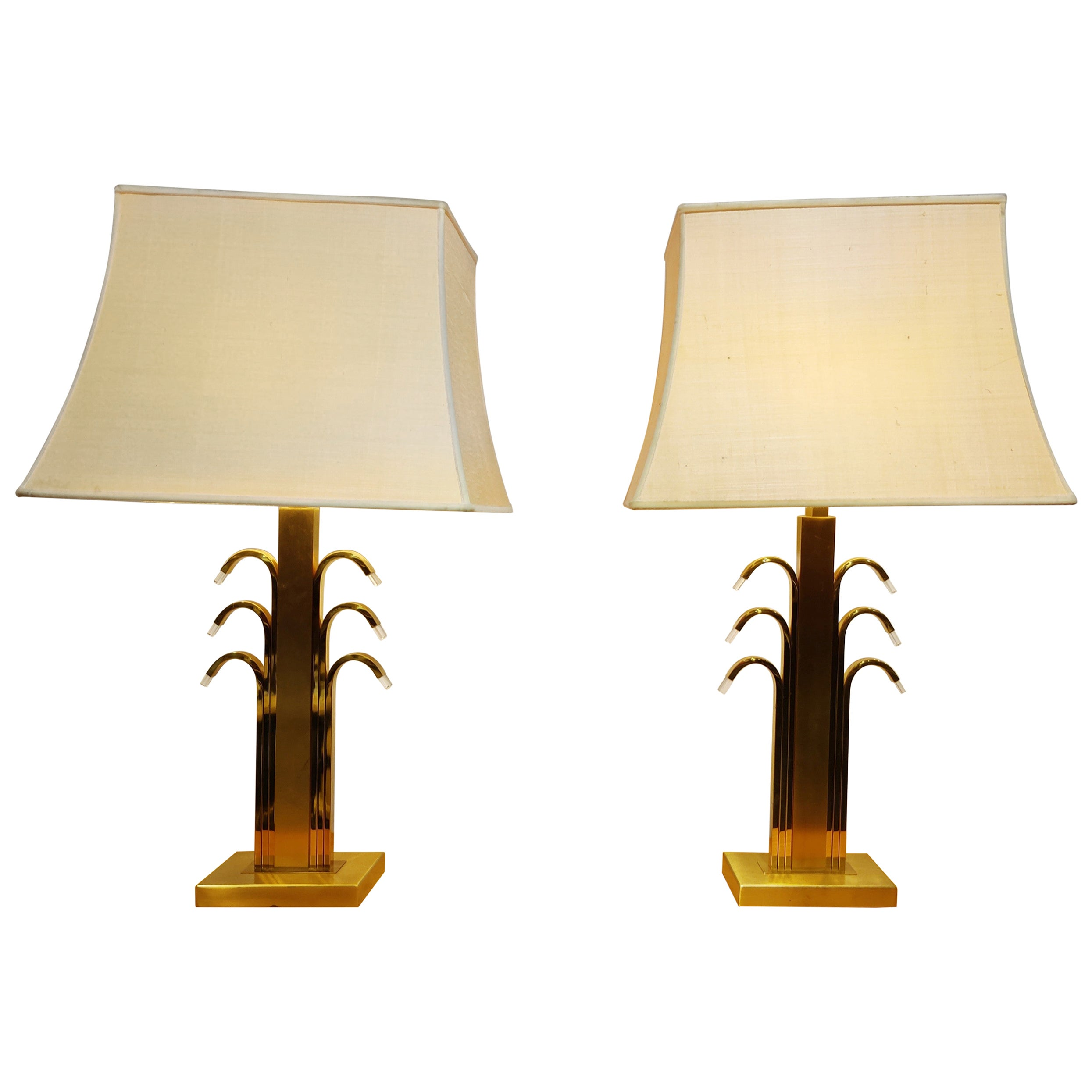 Vintage Brass and Glass Table Lamps, 1970s