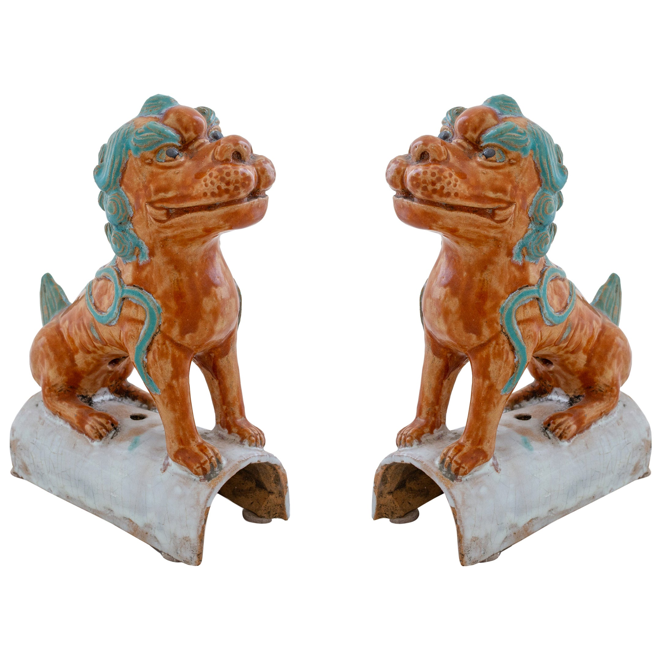 Pair of Colorful Chinese Terracotta Roof Tiles