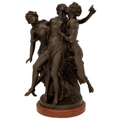 French 19th Century Louis XVI Style Bronze Statue, after a Model by Clodion