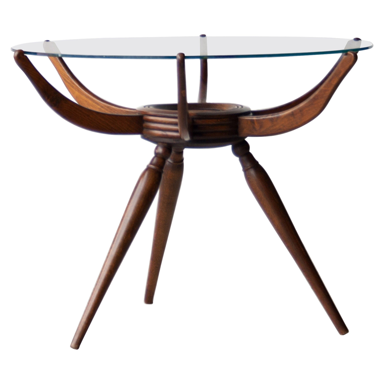 Carlo de Carli Midcentury Rounded Wooden Italian Spider Table, Italy, 1950