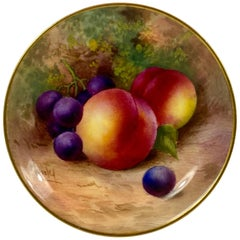 Royal Worcester Porcelain Pin Dish, Fruit, George Moseley, Dated 1936
