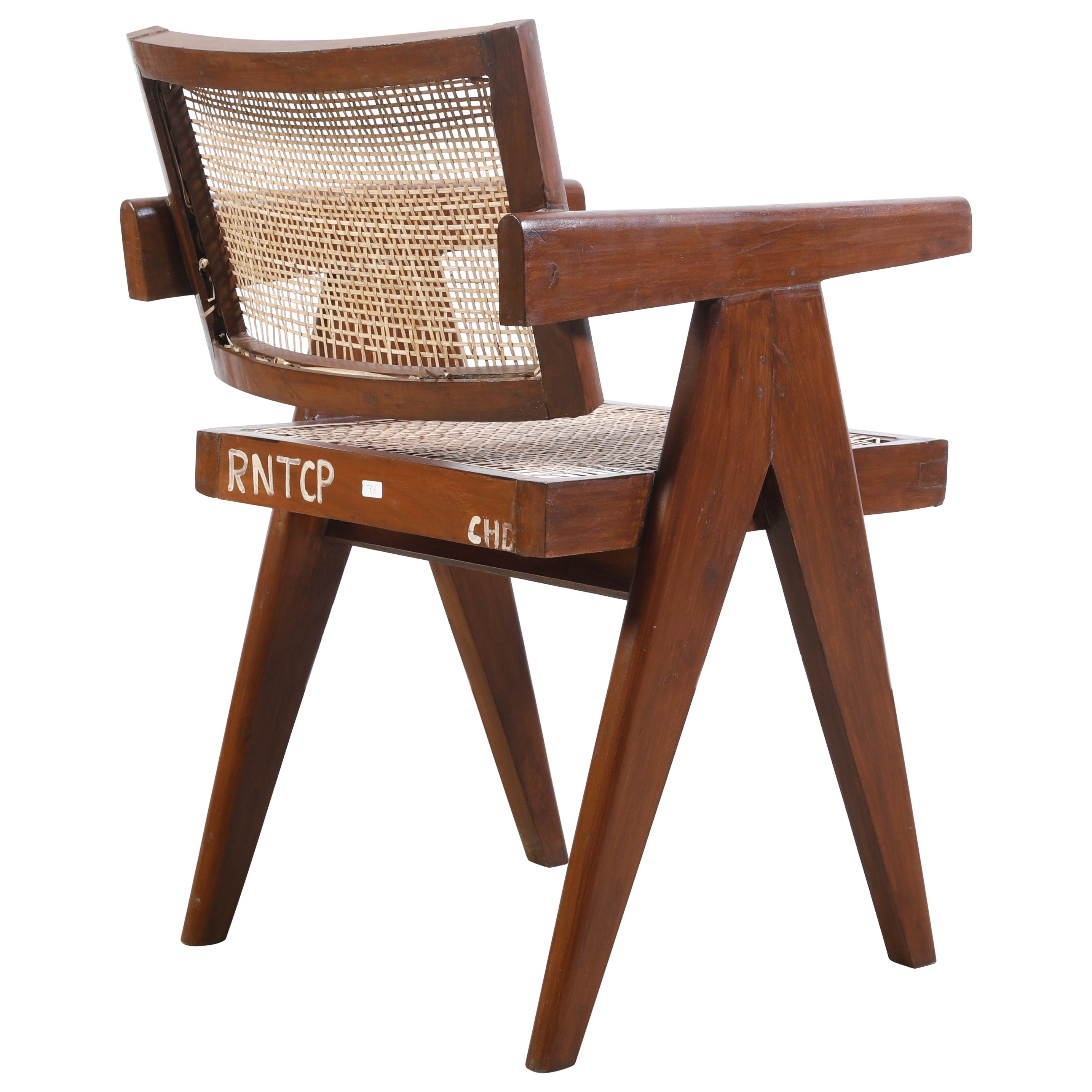 Pierre Jeanneret Office Cane Chair with Letters / Authentic Mid-Century Modern