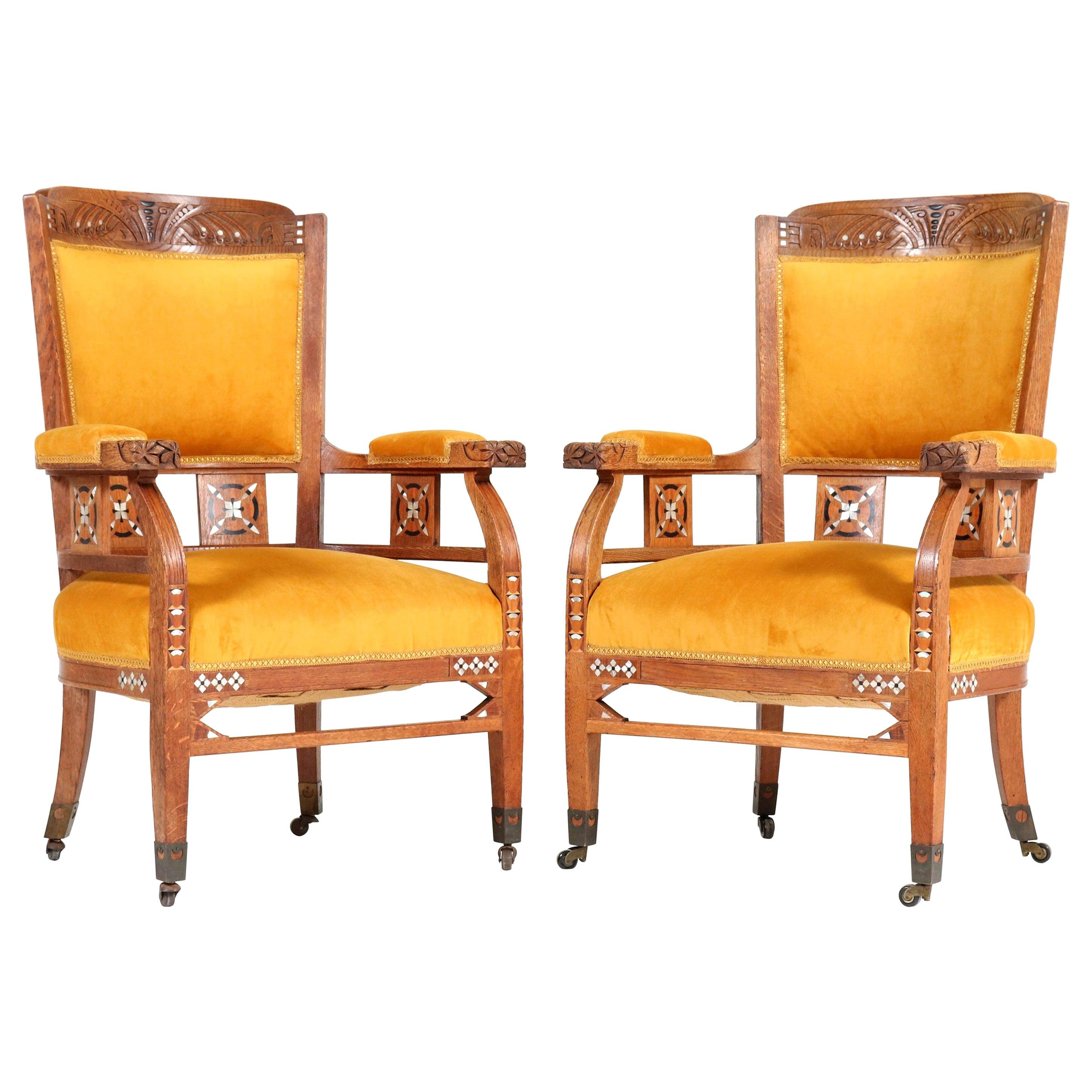 Oak Art Nouveau Arts & Crafts Armchairs by H.F. Jansen en Zonen Amsterdam, 1900s