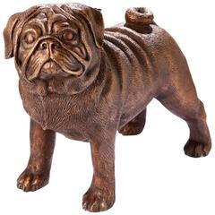 Standing Bronze Pug Dog