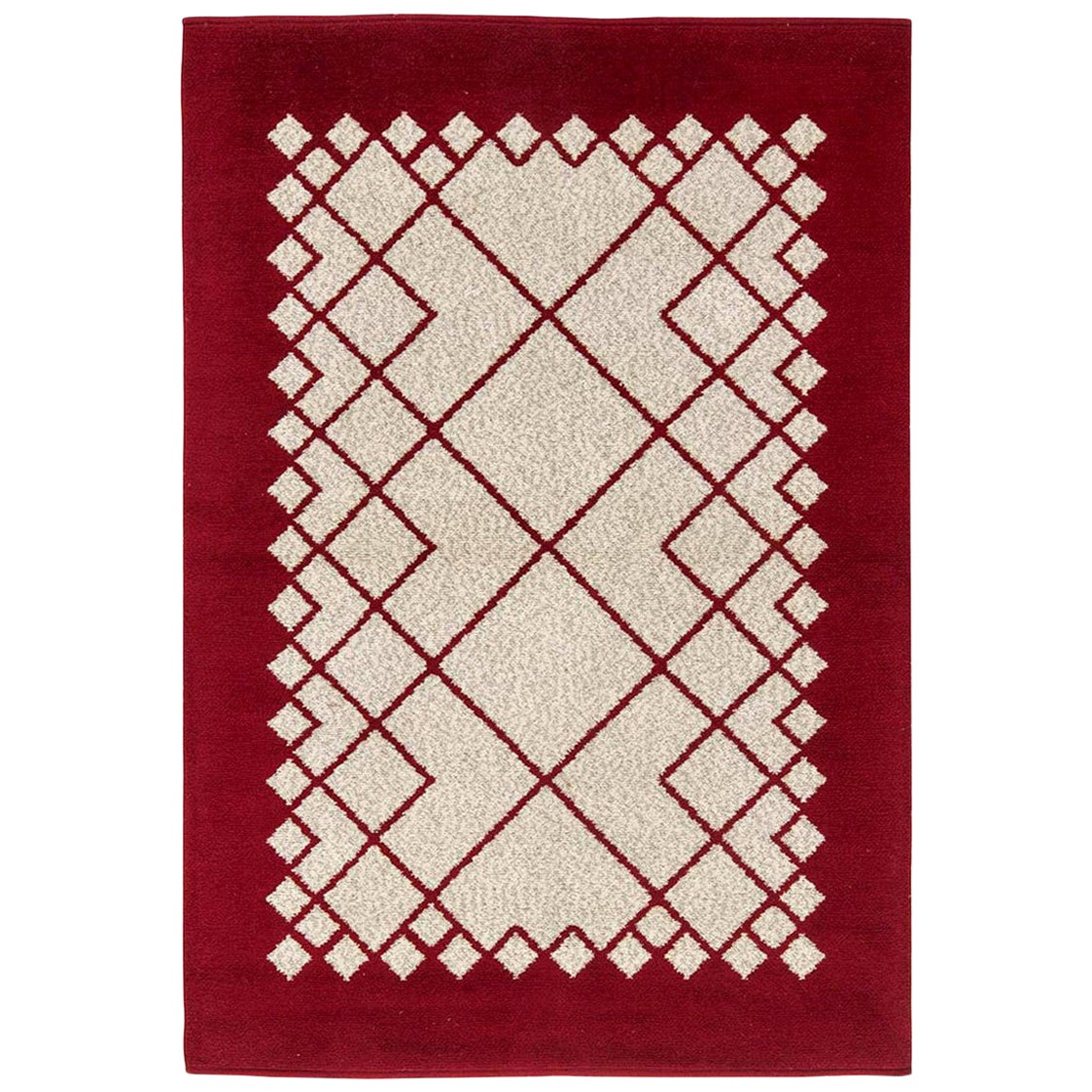 Midcentury Swedish Deep Burgundy and White Double Sided Flat-Weave Wool Rug