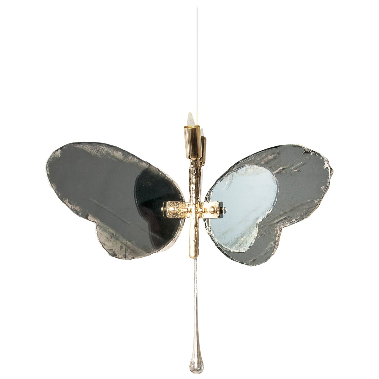Butterfly Hanging Lamp Grey smoky Silvered Glass, Brass Body, Crystal Drop