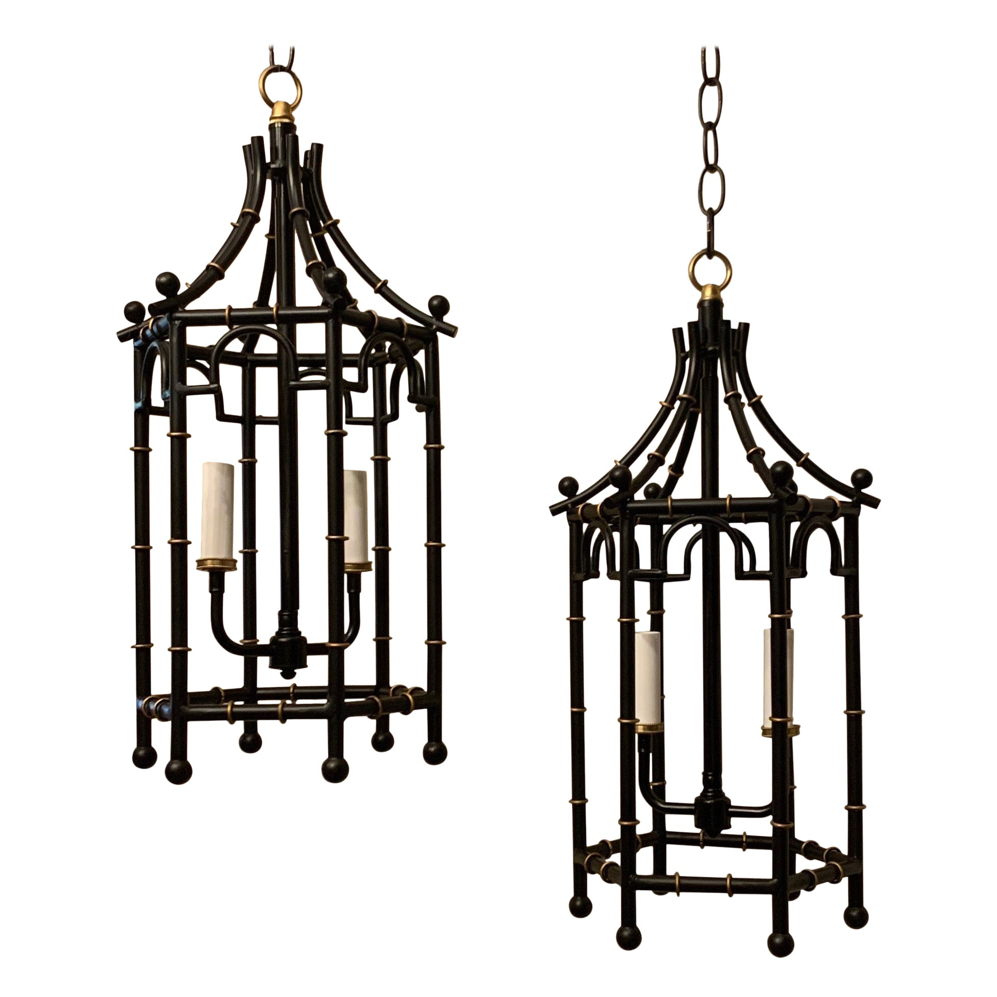 Fine Vintage Pair of Black Gold Gilt Pagoda Bamboo Lanterns Chinoiserie Fixtures