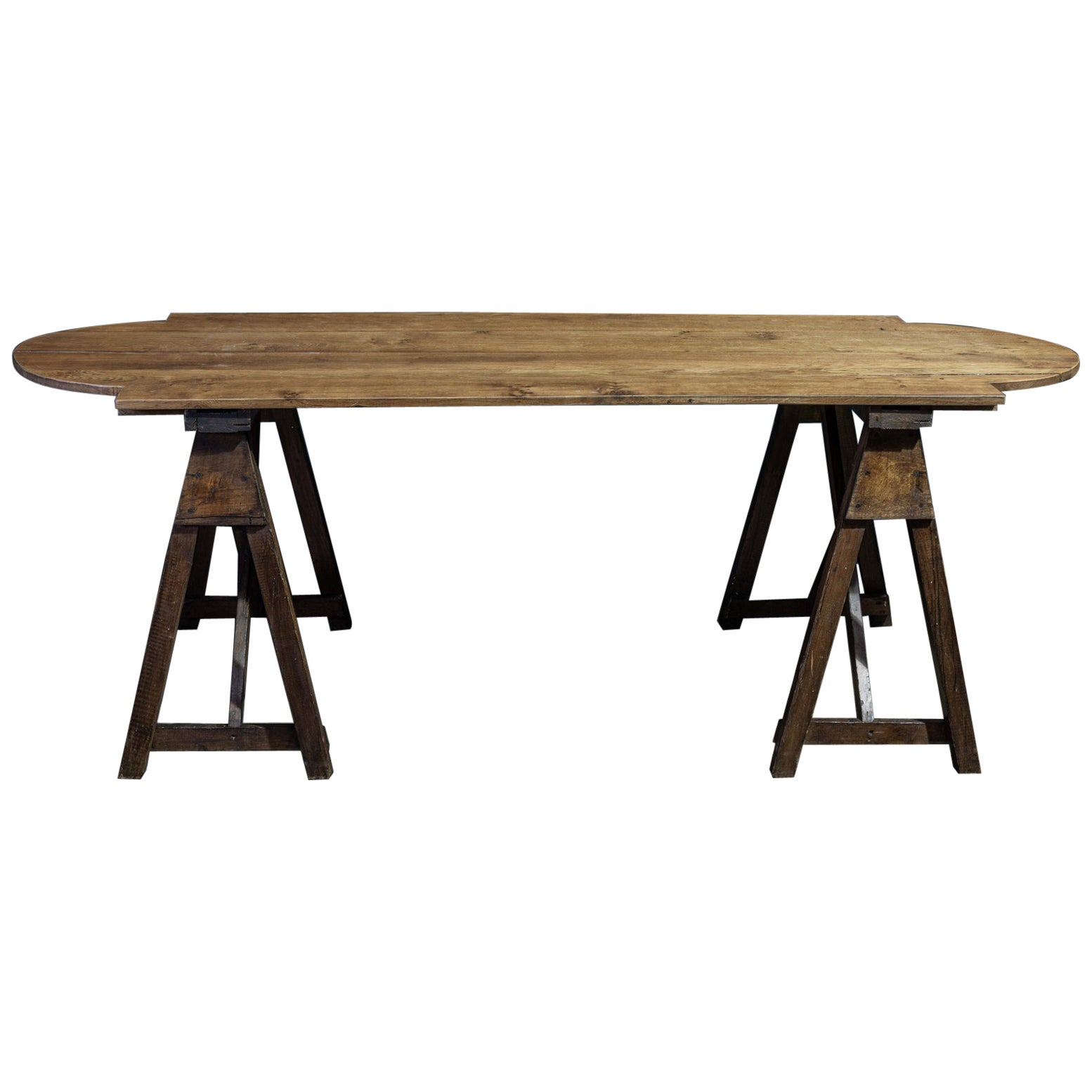 French Oak Harvest Trestle Table