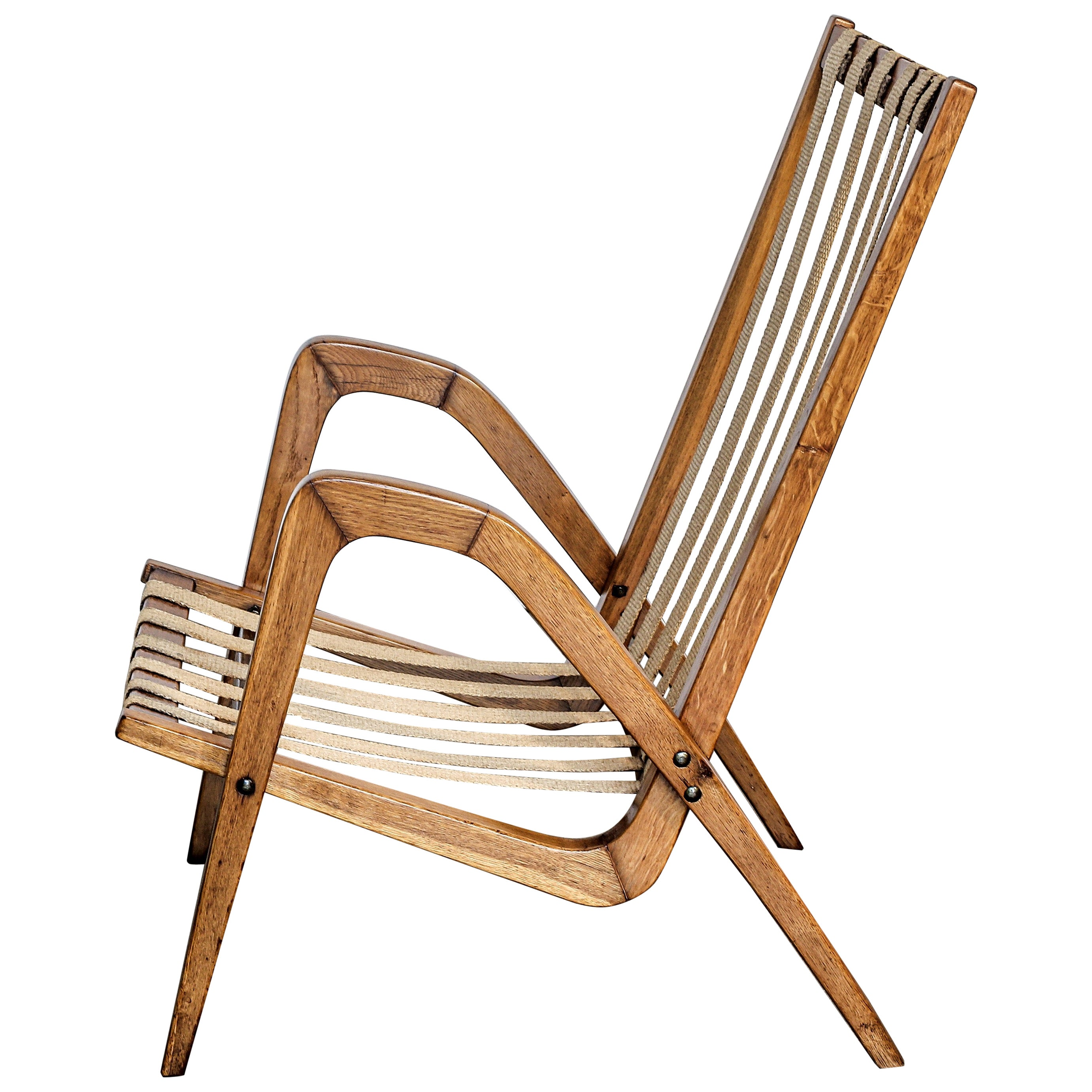 1950s Oak Armchair by Jan Vanek, Czechoslovakia