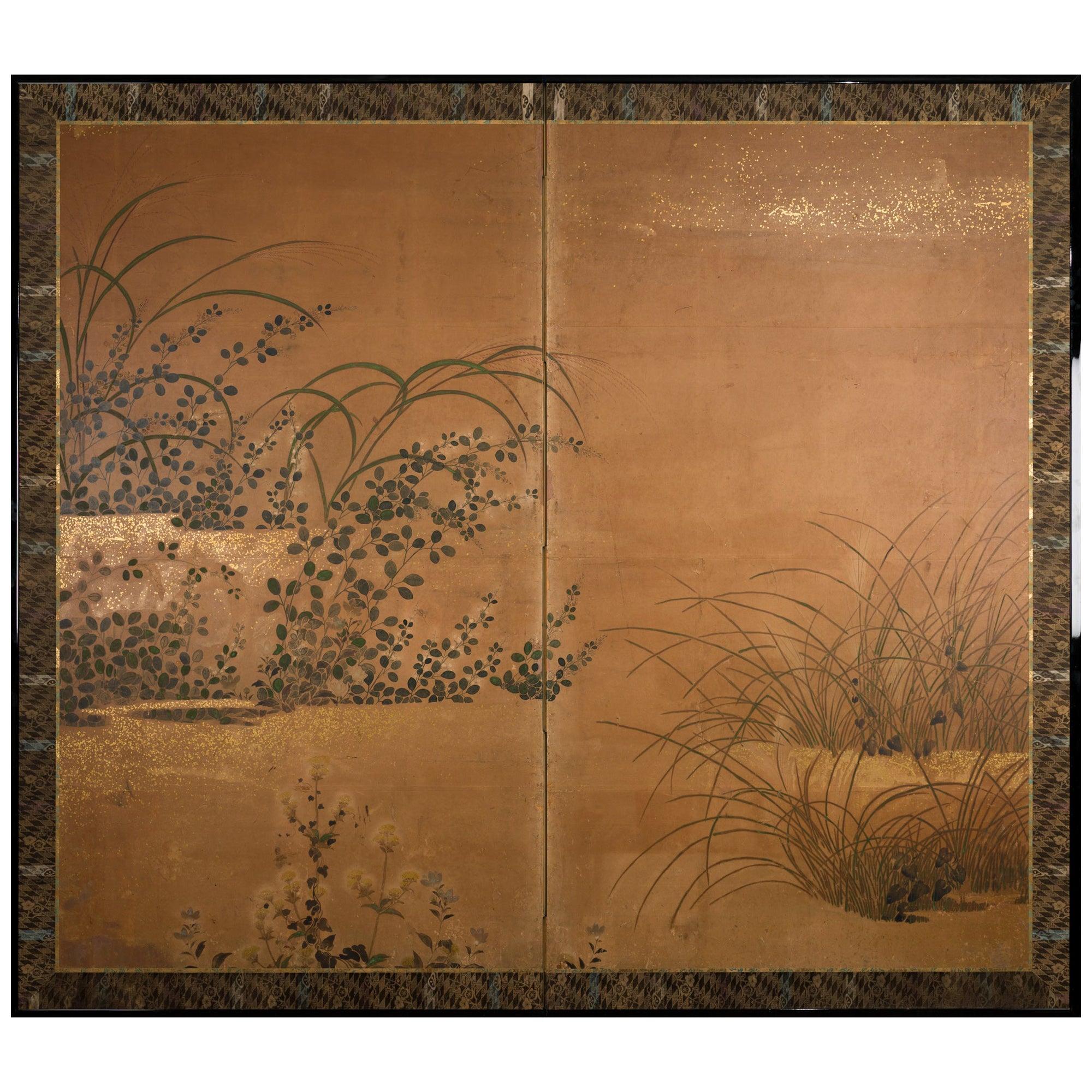 Japanese Two-Panel Screen Rimpa Floral Landscape