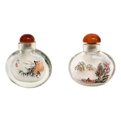 Églomisé Reverse Painted Snuff Bottles Set of Two Bamboo and Fisherman