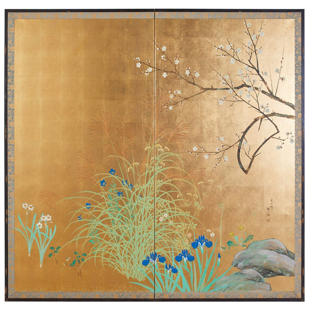 Japanese Signed Two Panel Screen Flowering Landscape