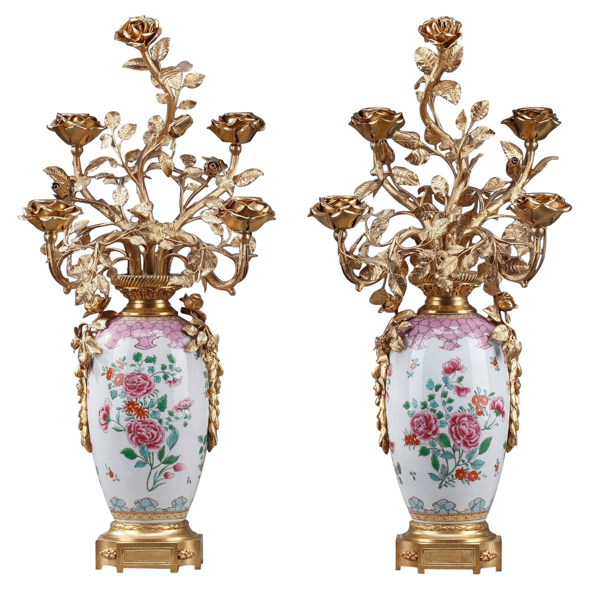19th Century Vases Mounted as Lamps in Famille Rose Porcelain Taste