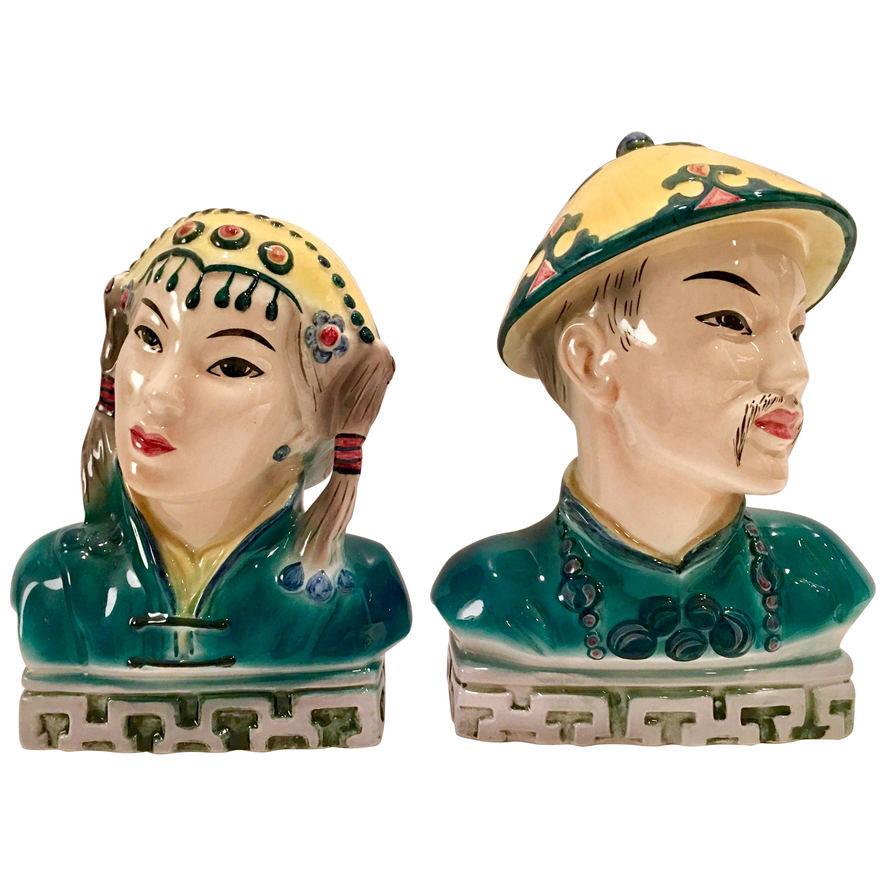 Midcentury Pair of Japanese Hand Painted Porcelain Sculptures by Goldscheider