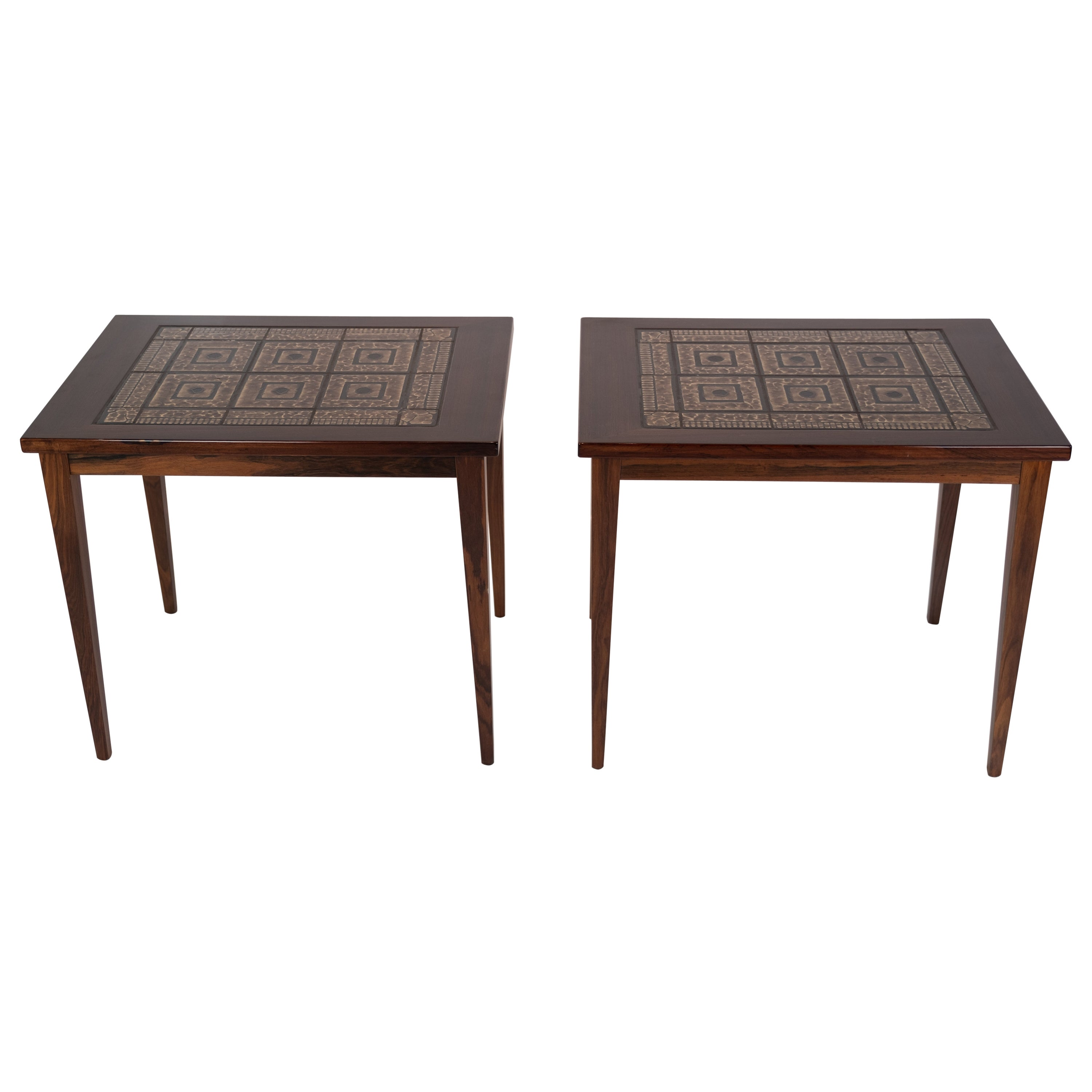 Pair of Bedside Tables in mahogany with Brown Tiles of Danish Design, 1960s