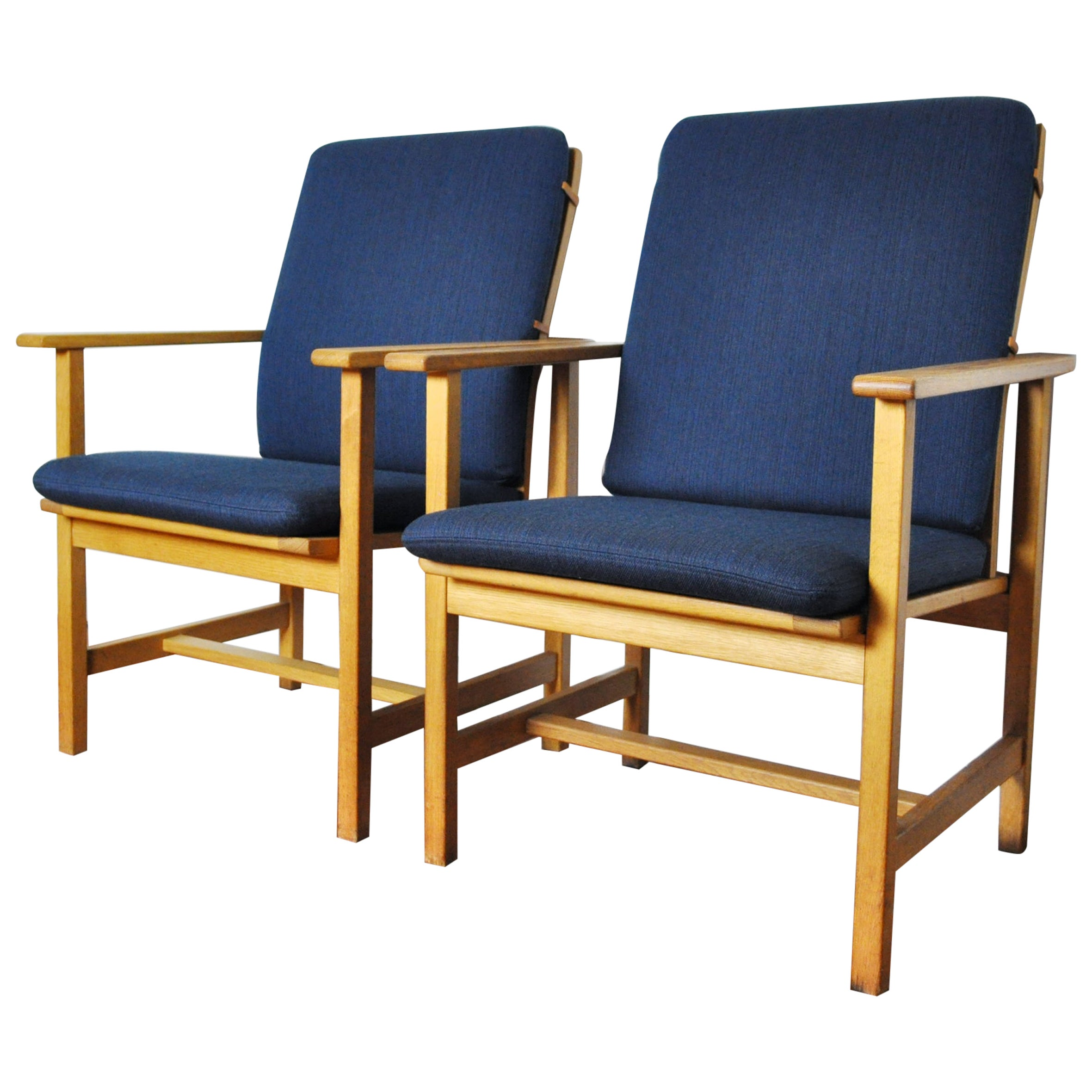 Danish Modern Oak Armchairs with Navy Blue New Upholstery by Børge Mogensen