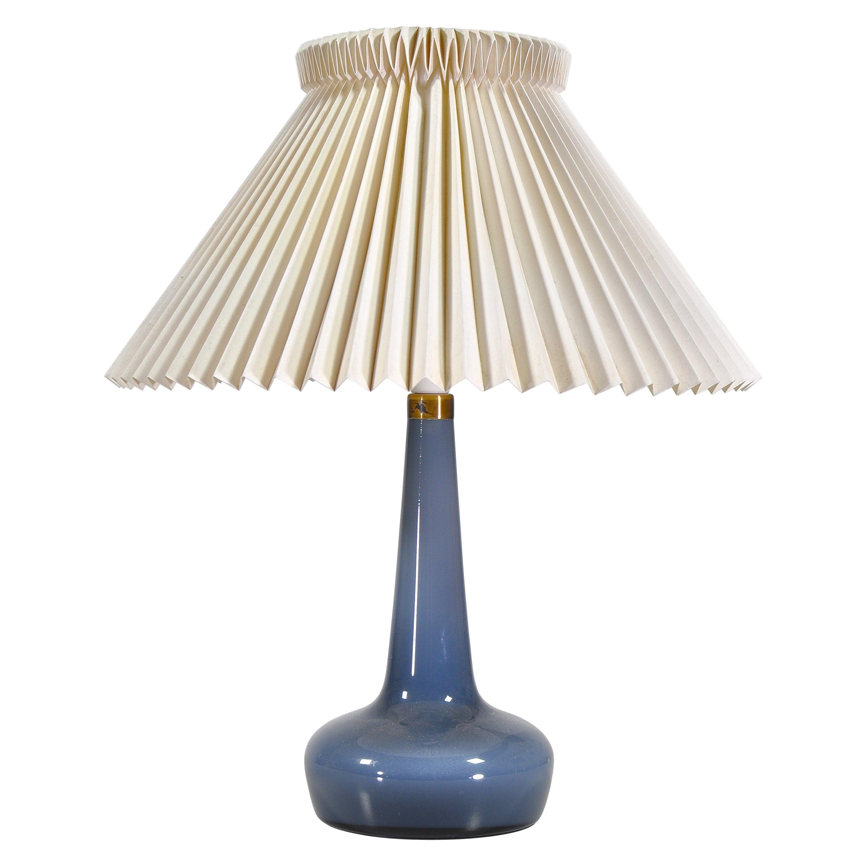Blue Le Klint & Holmegaard Blown Glass Table Lamp Denmark by Esben Klint, 1949
