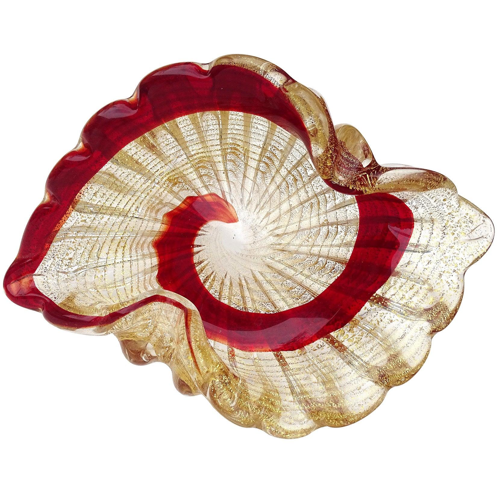 Murano Vintage Red Swirl Paint Stroke Gold Flecks Italian Art Glass Bowl Dish