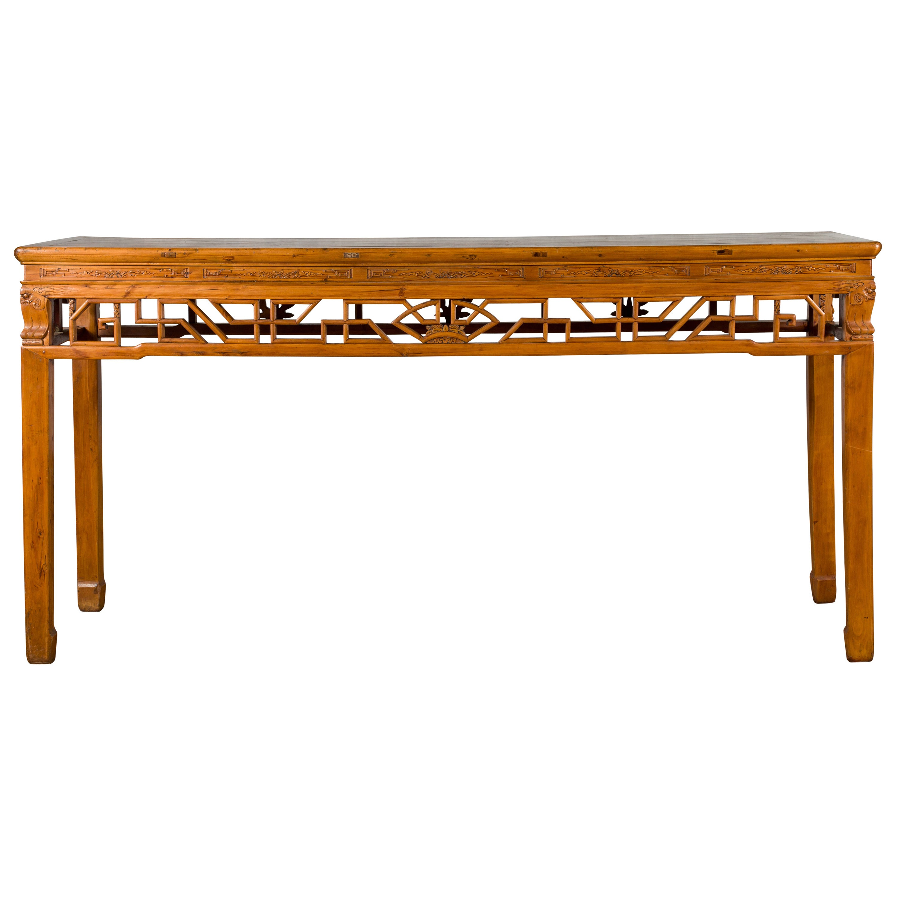 19th Century Chinese Qing Dynasty Period Altar Console Table with Carved Apron