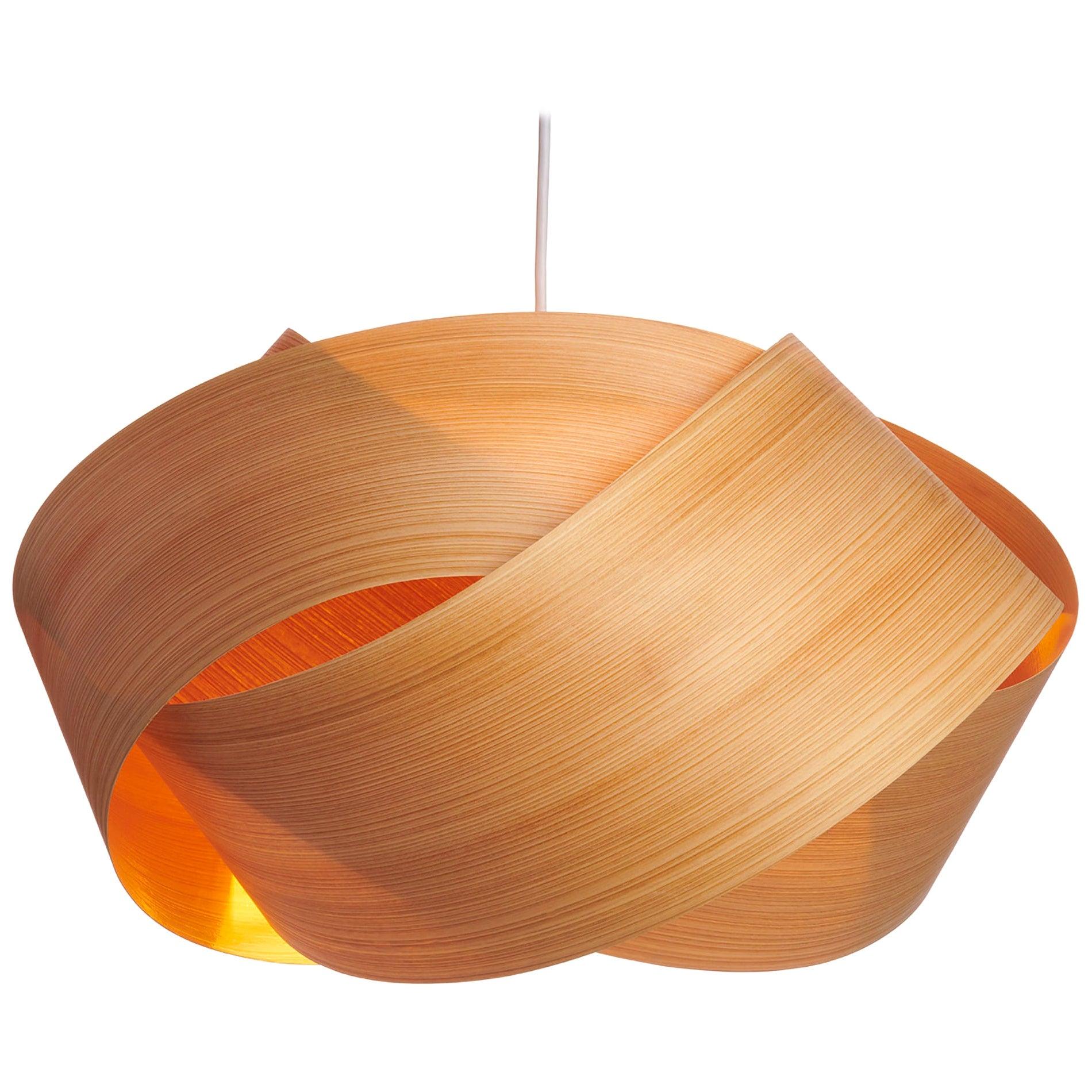 Mid-Century natural wood chandelier pendant