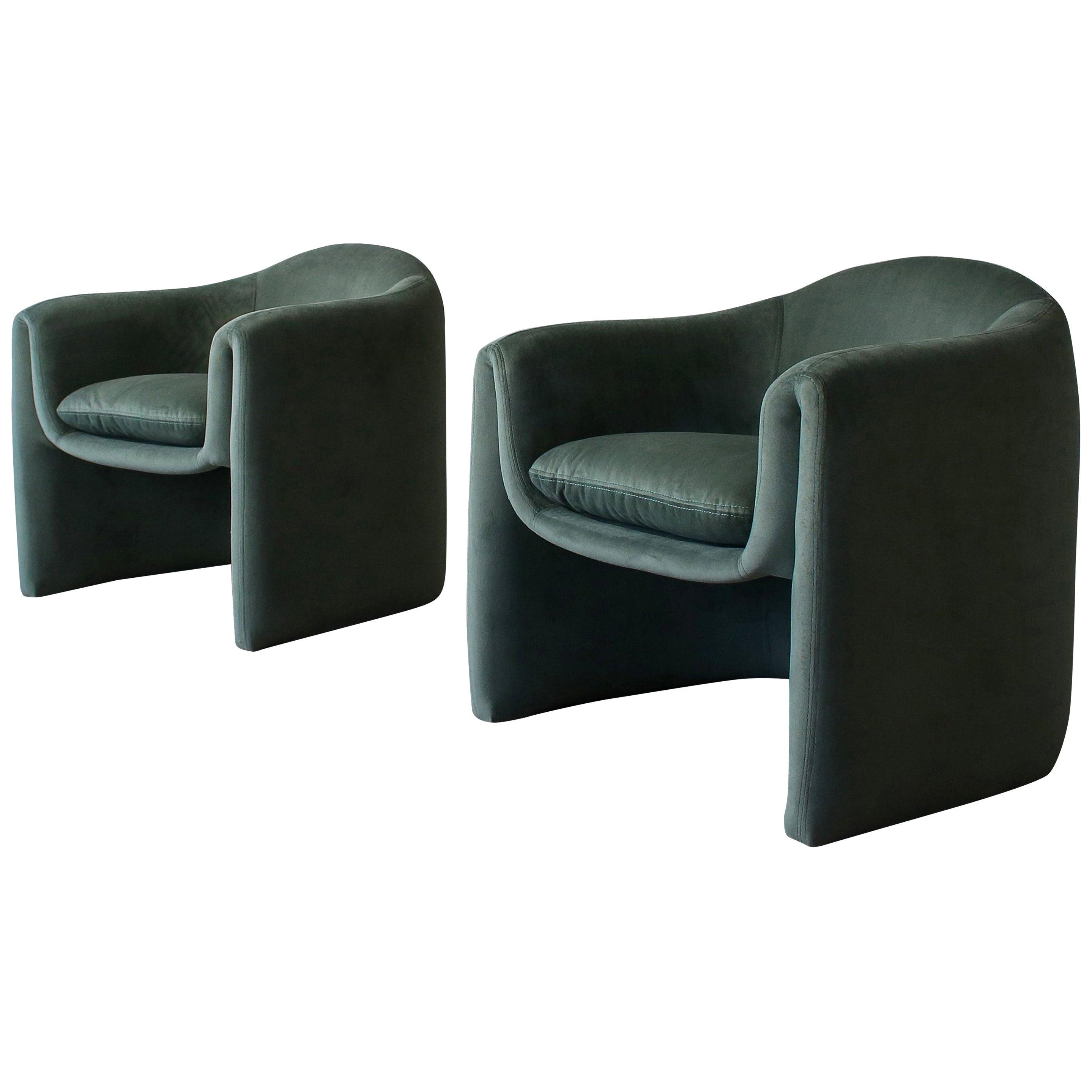 Pair of Postmodern Barrel Chairs