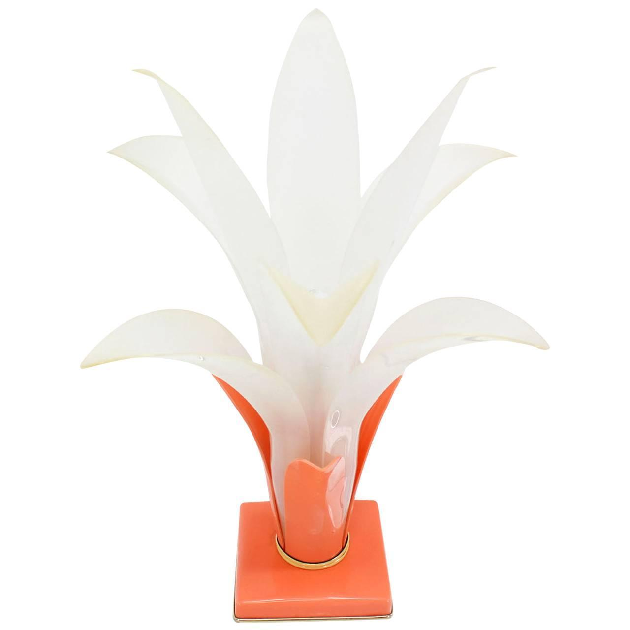 Molded Acrylic Lotus Flower Table Lamp For Sale At 1stdibs