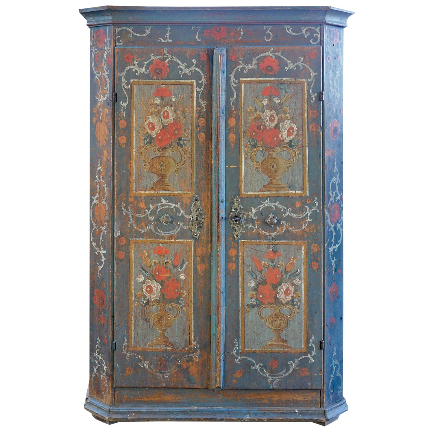 Exceptional 18th Century Tyrolean Blue Floral Painted Wardrobe, 1793