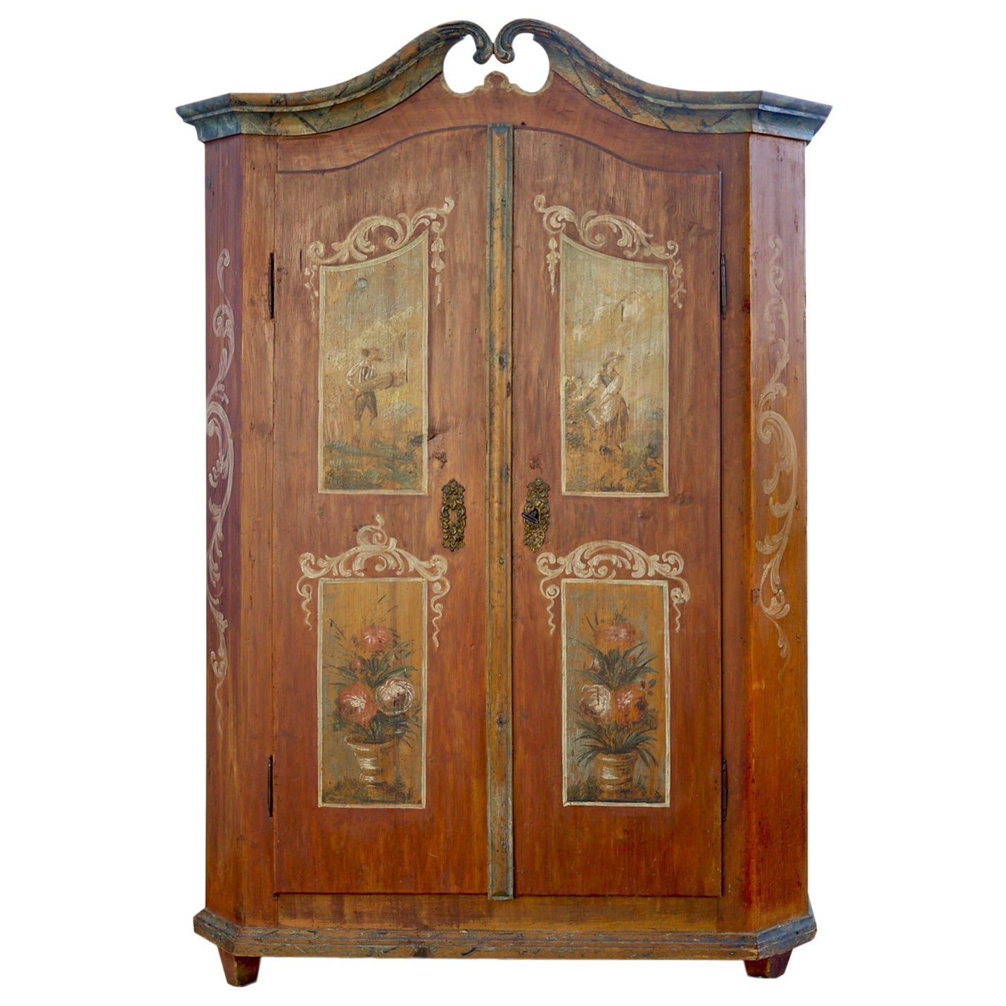 Early 19th Century Floral and Figure Painted Cabinet