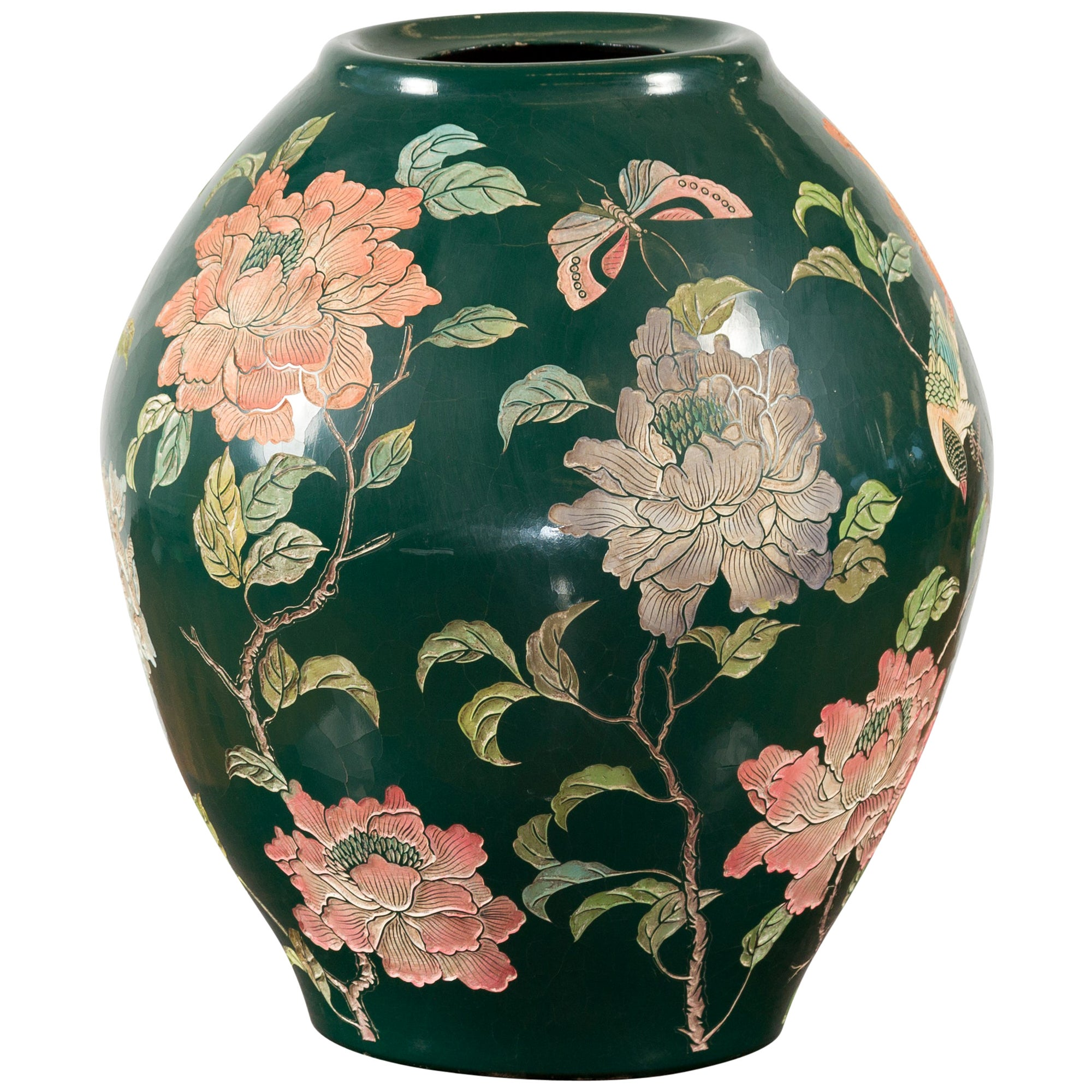 Vintage Chinese Handcrafted Green Vase with Incised Floral and Butterfly Decor