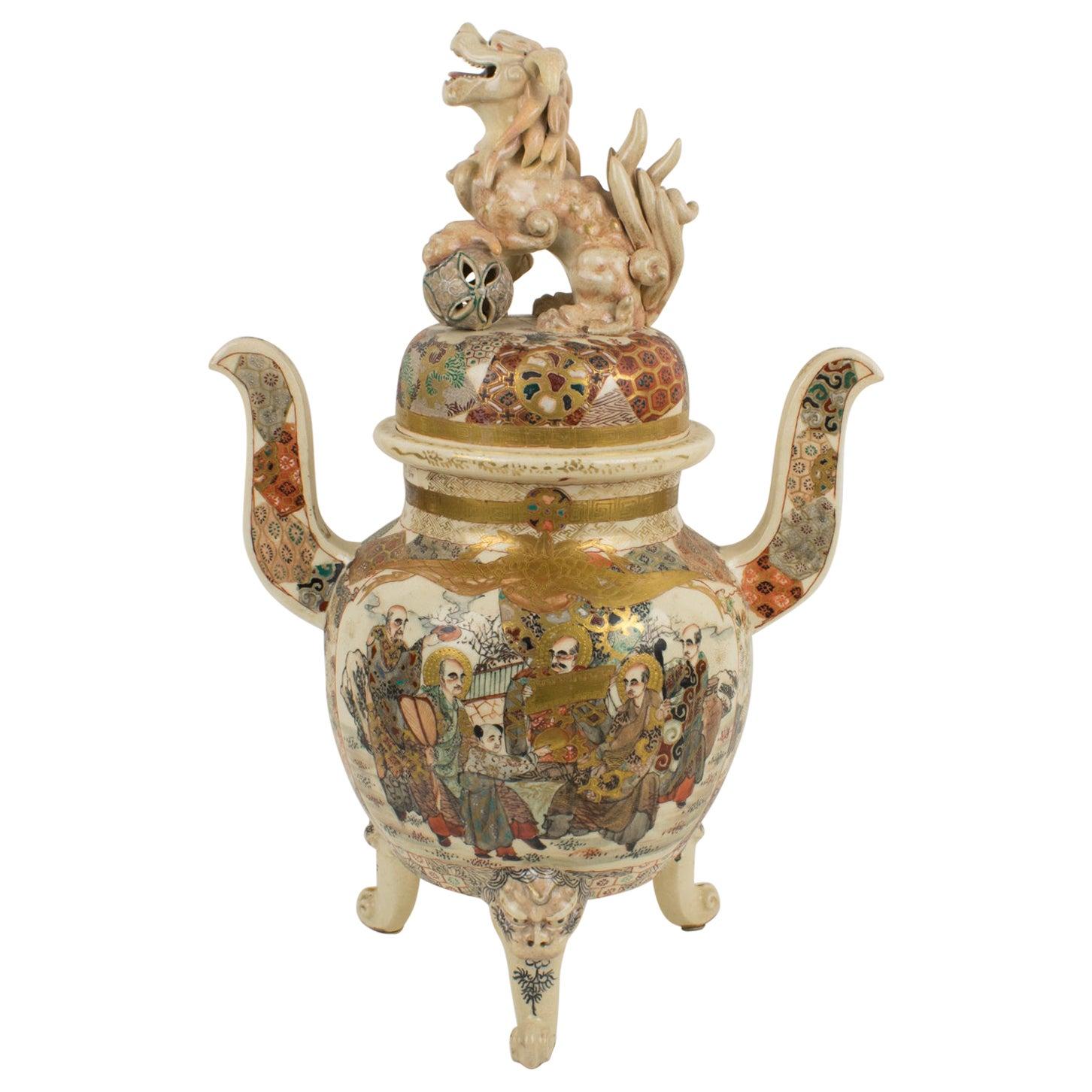 Large Antique Japanese Meiji Satsuma Covered Urn Vase with Foo Dog