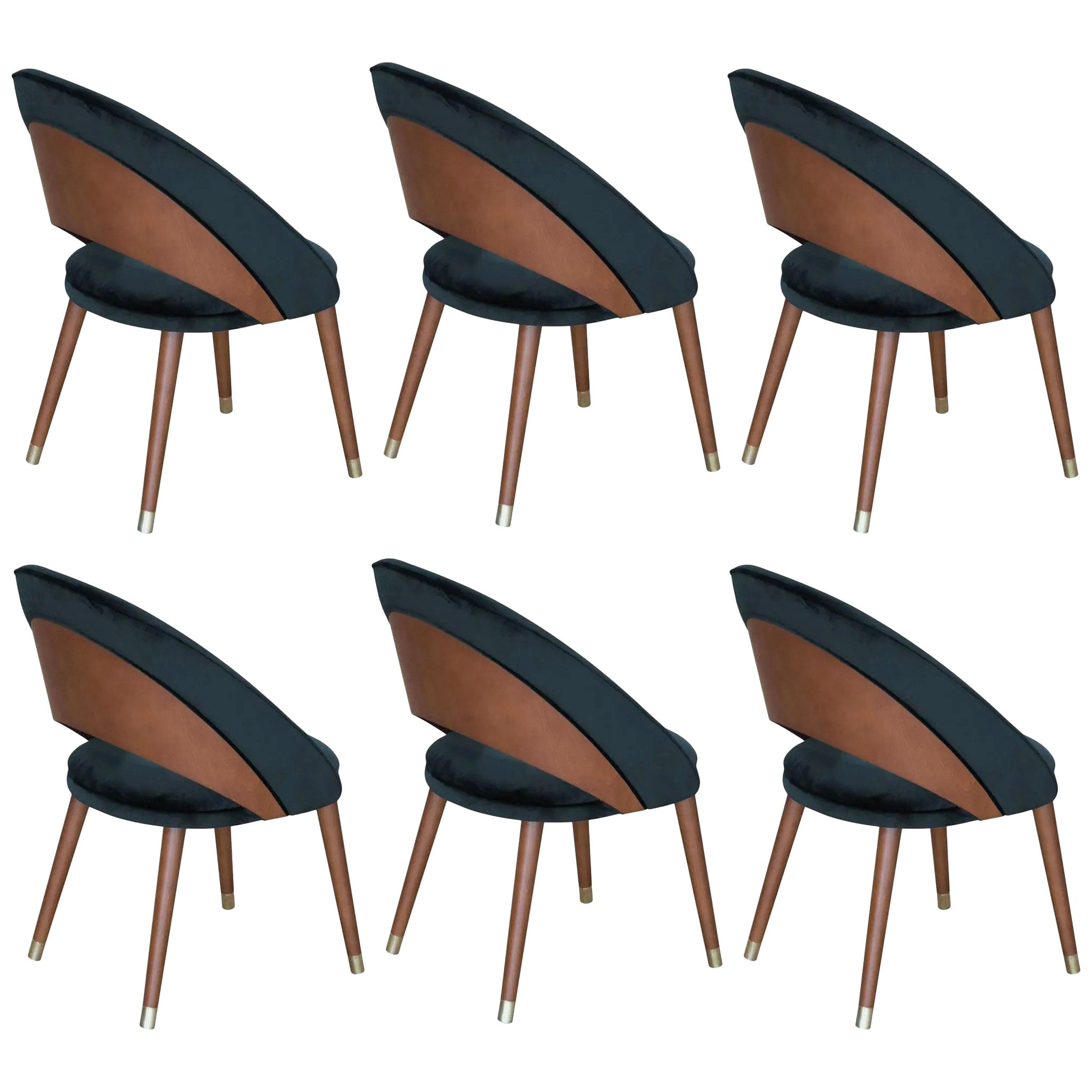 Mid-Century Modern Style Dining Chairs, Set of 6