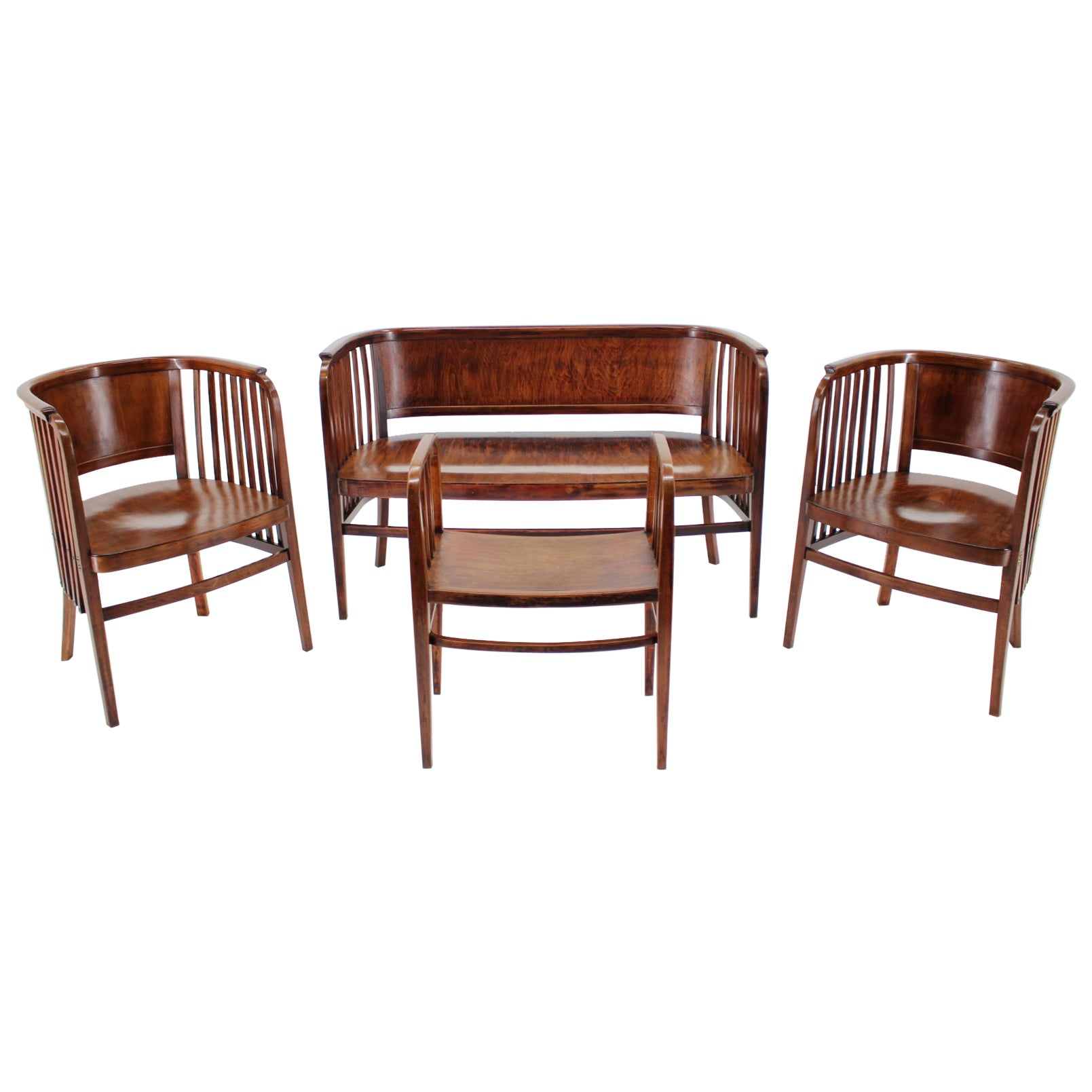 1910s Marcel Kammerer Wooden Sofa, Chairs and Stool for Gebruder Thonet
