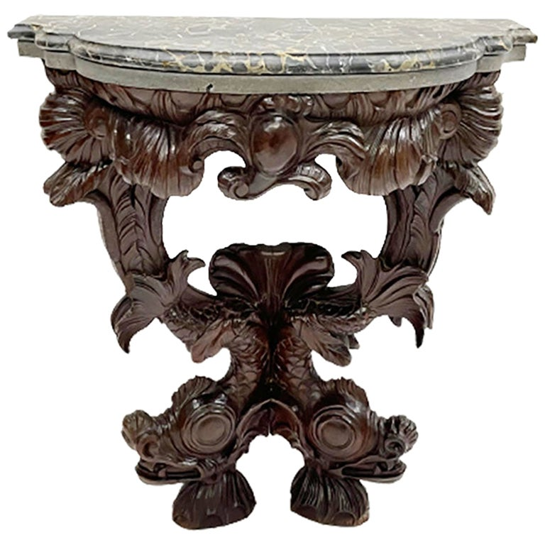 18th-19th Century Dolphin Console Table with Marble Top