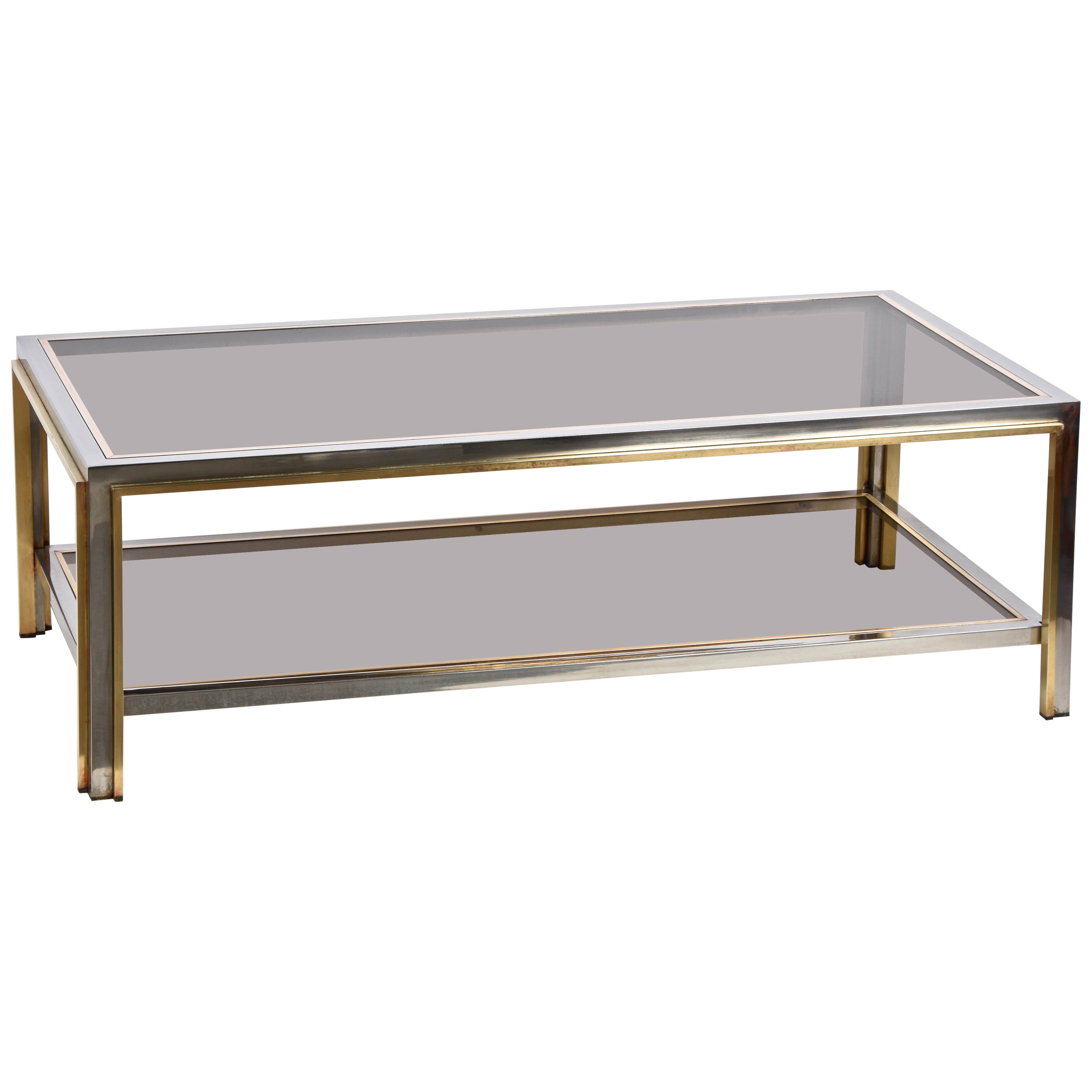 Midcentury Brass and Chrome and Glass Italian Coffee Table after Romeo Rega 1970