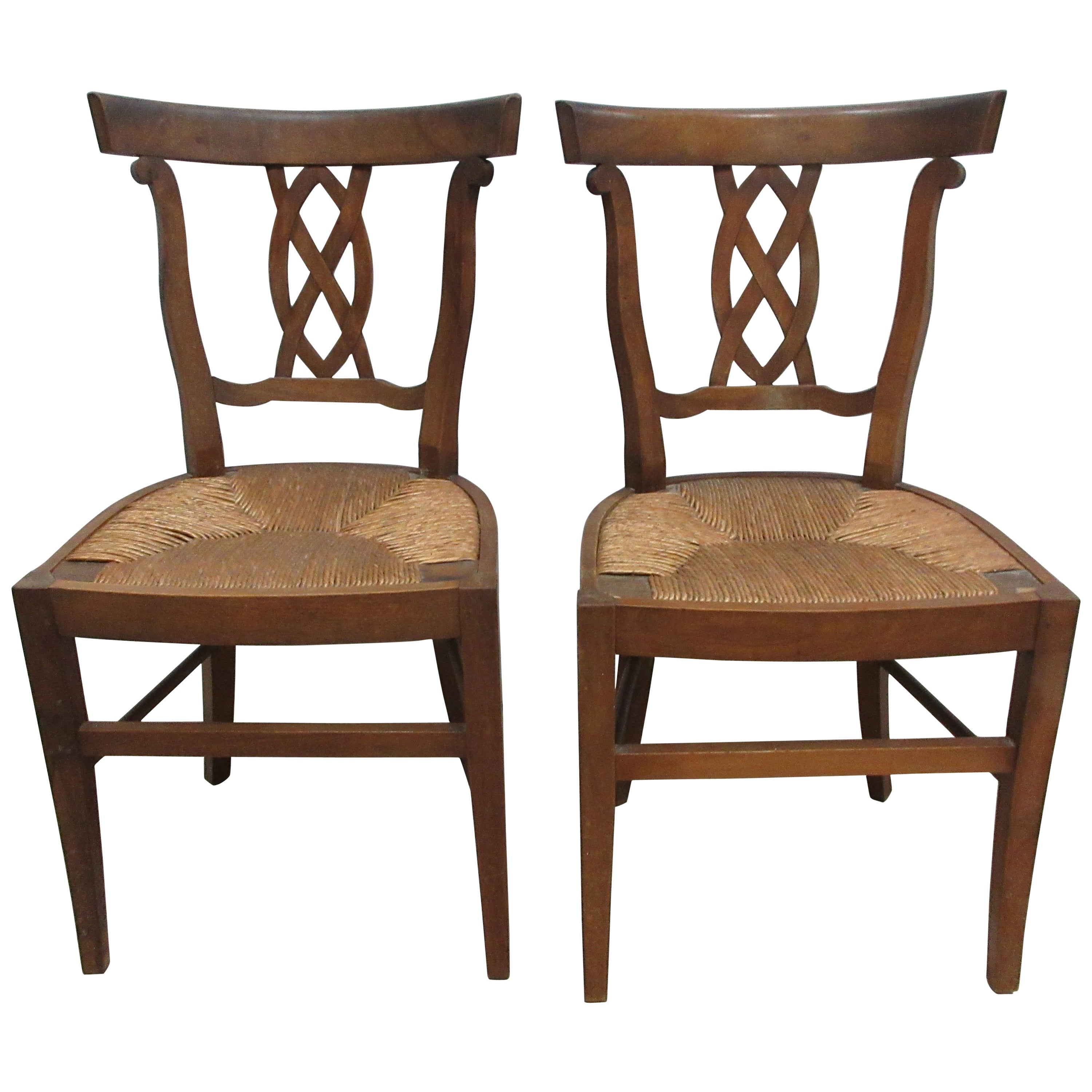Two Rush Woven Seat Side Chairs