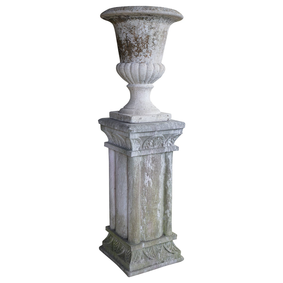 Vintage French Cast Stone Urn on Pedestal