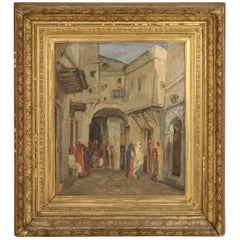 19th Century Giltwood Framed Oil Painting of a Middle Eastern Street Scene