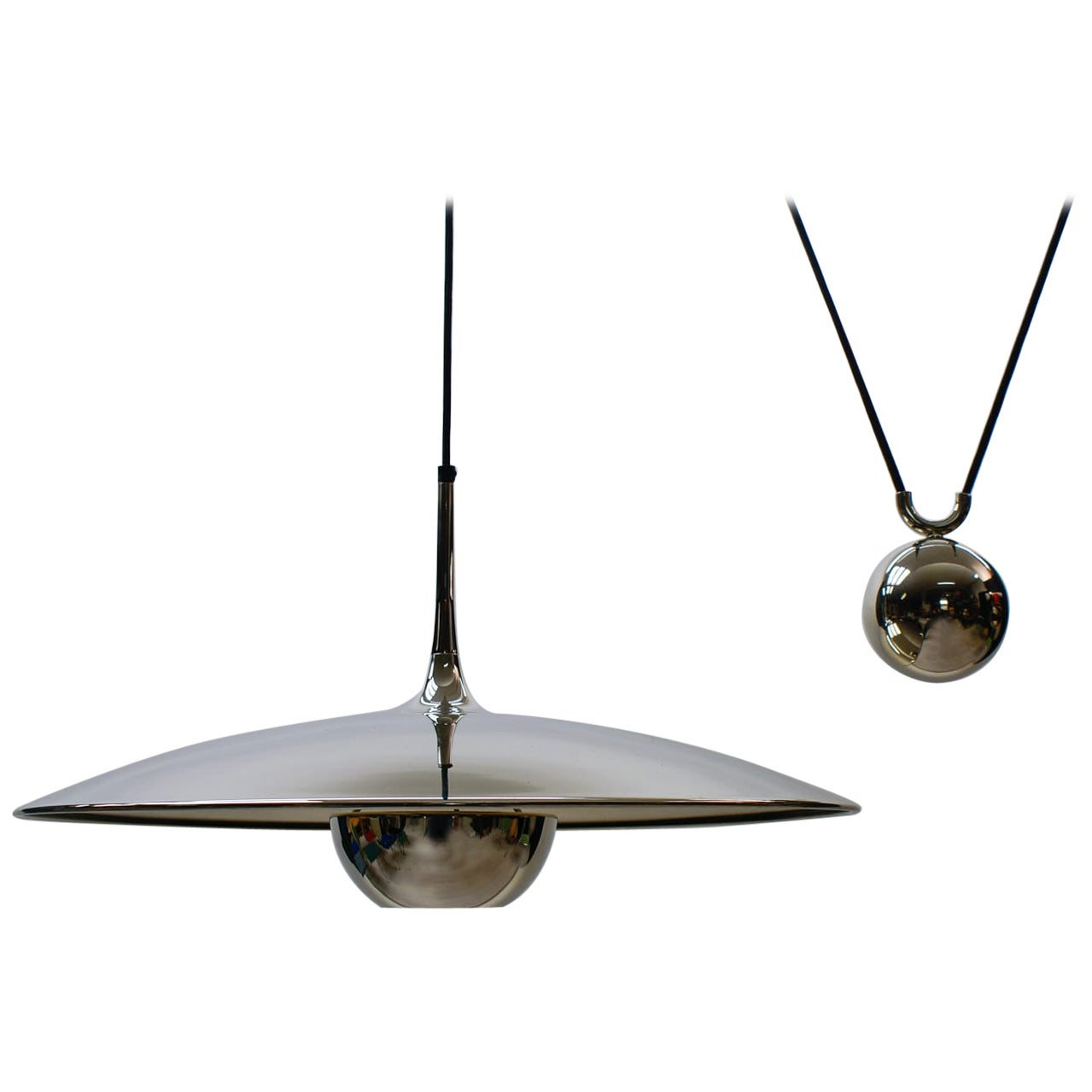 Florian Schulz Brass Onos Pendant with Counterweight, Germany, 1970s