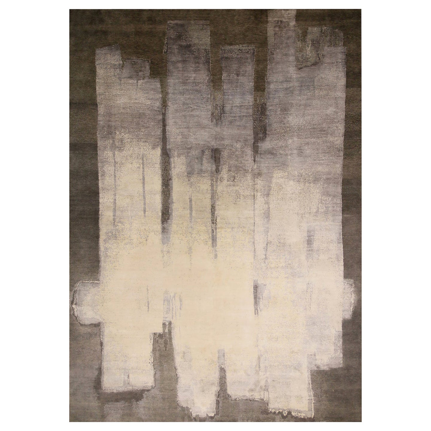 Contemporary Paint Strokes White and Gray Wool and Silk Rug