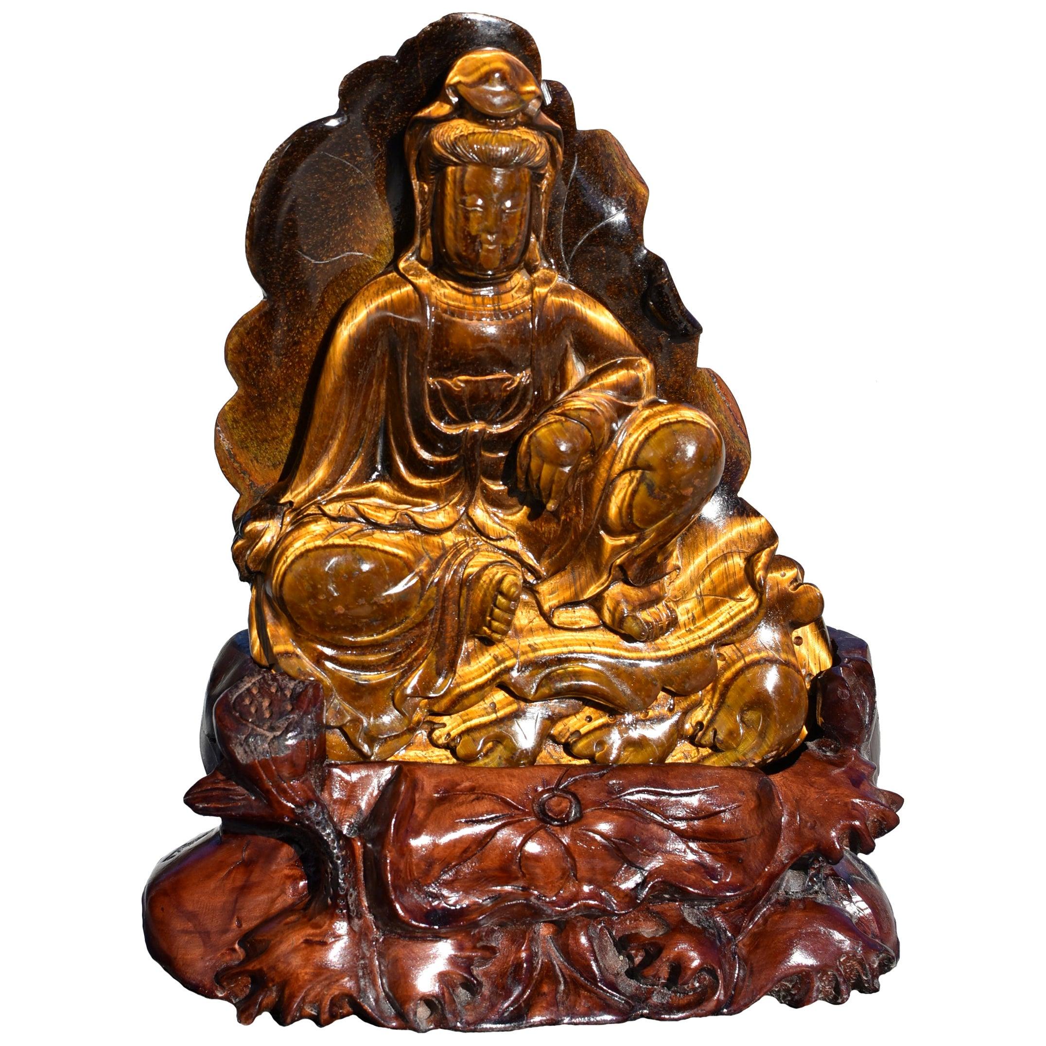 Tiger's Eye Water Moon Guan Yin Avalokiteshvara Statue
