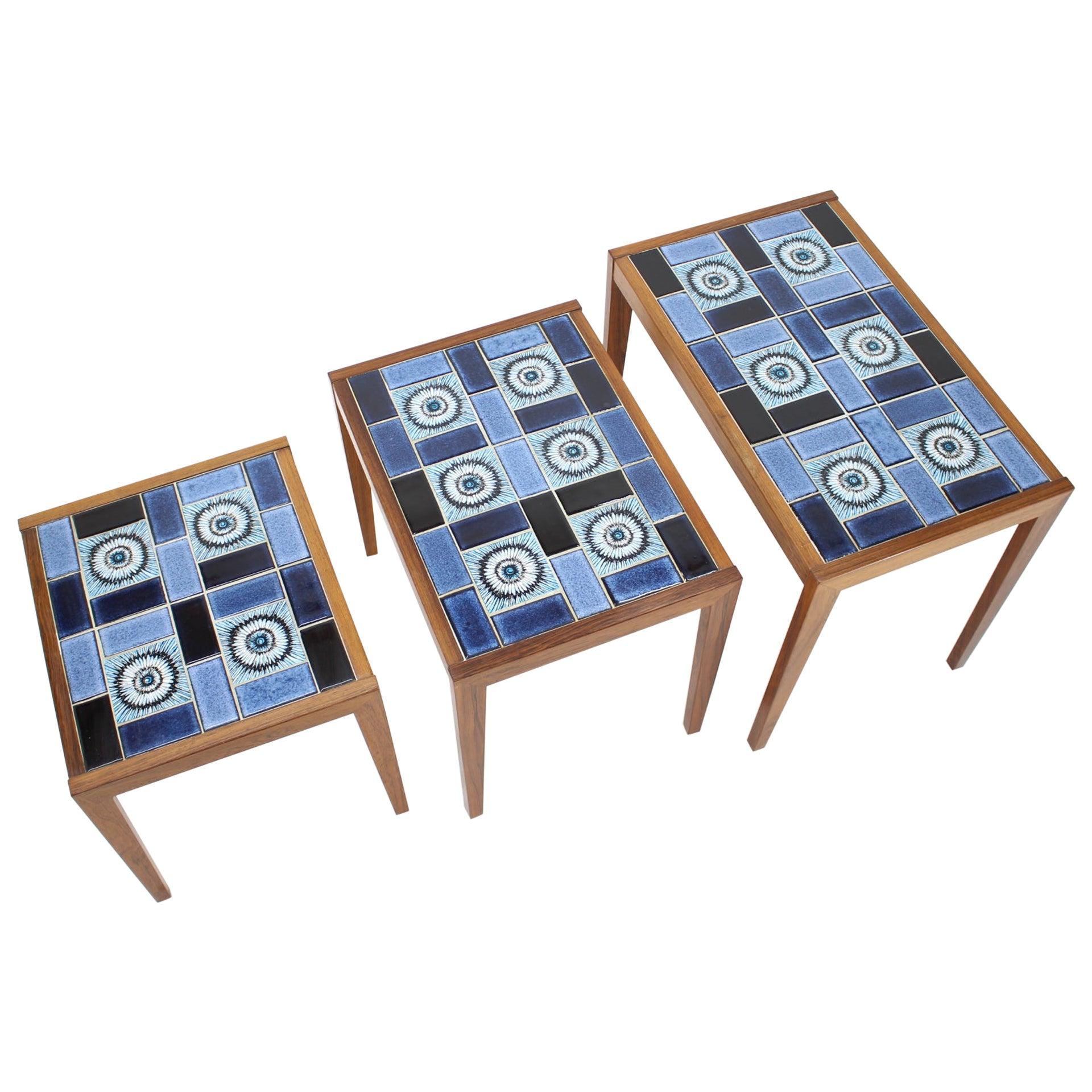 1960s Nesting Ceramic Tables, Denmark