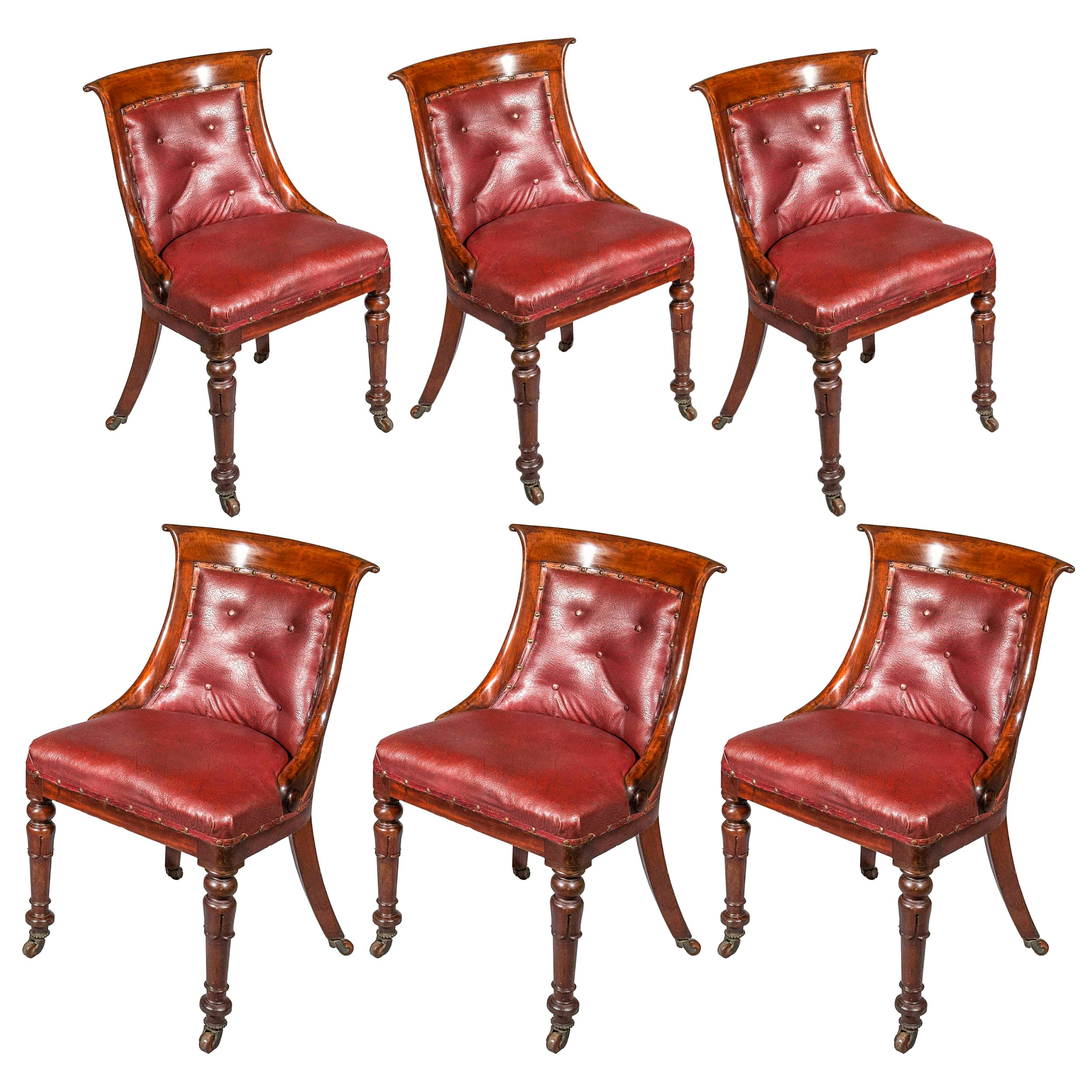 Antique Set of 6 Regency Side Chairs in Old Faux Leather