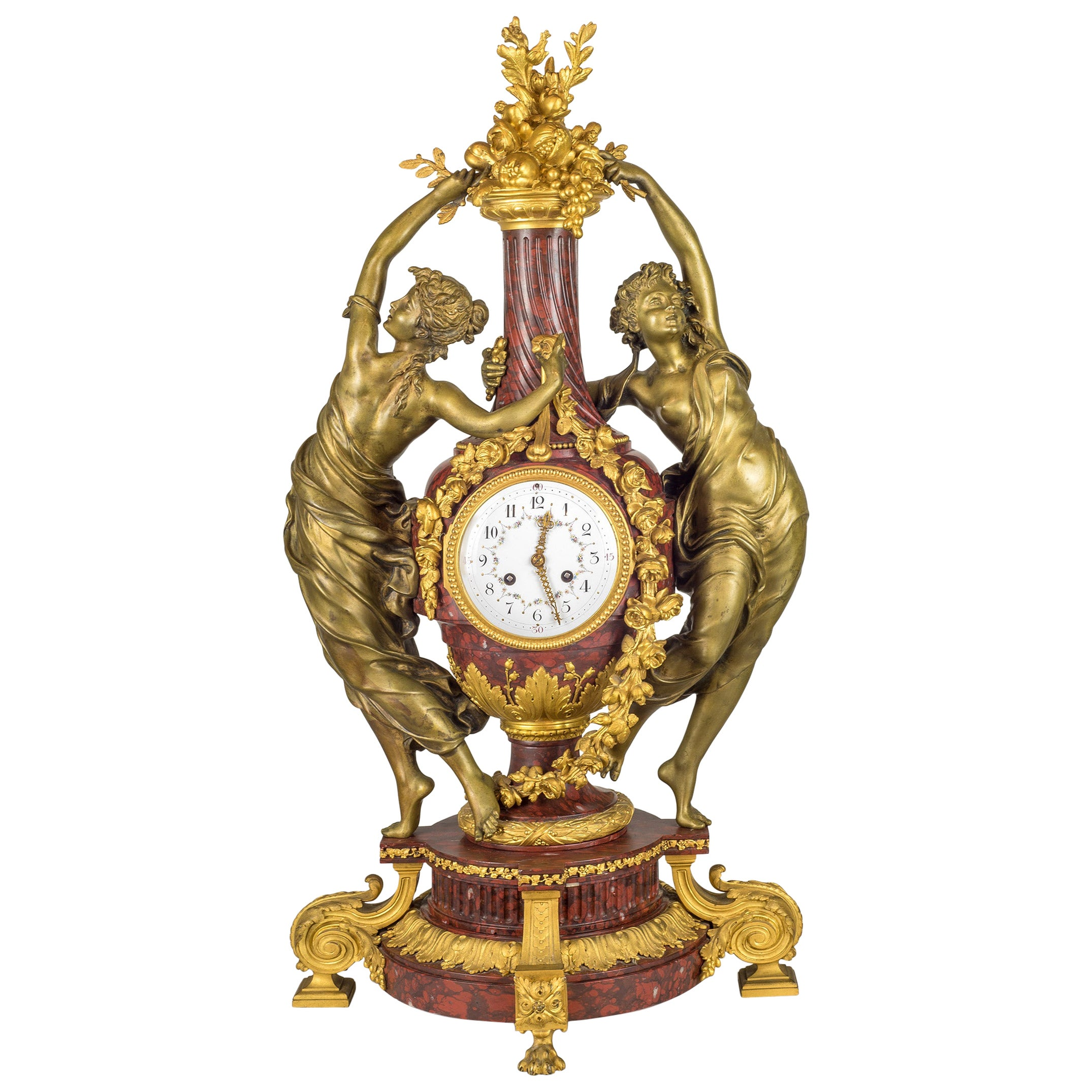 Very Important French Japy Frères Figural Mantel Clock