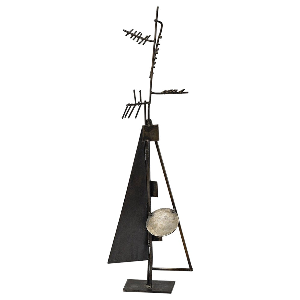 Abstract Metal Midcentury Sculpture by Alain Douillard Black Metallic Form